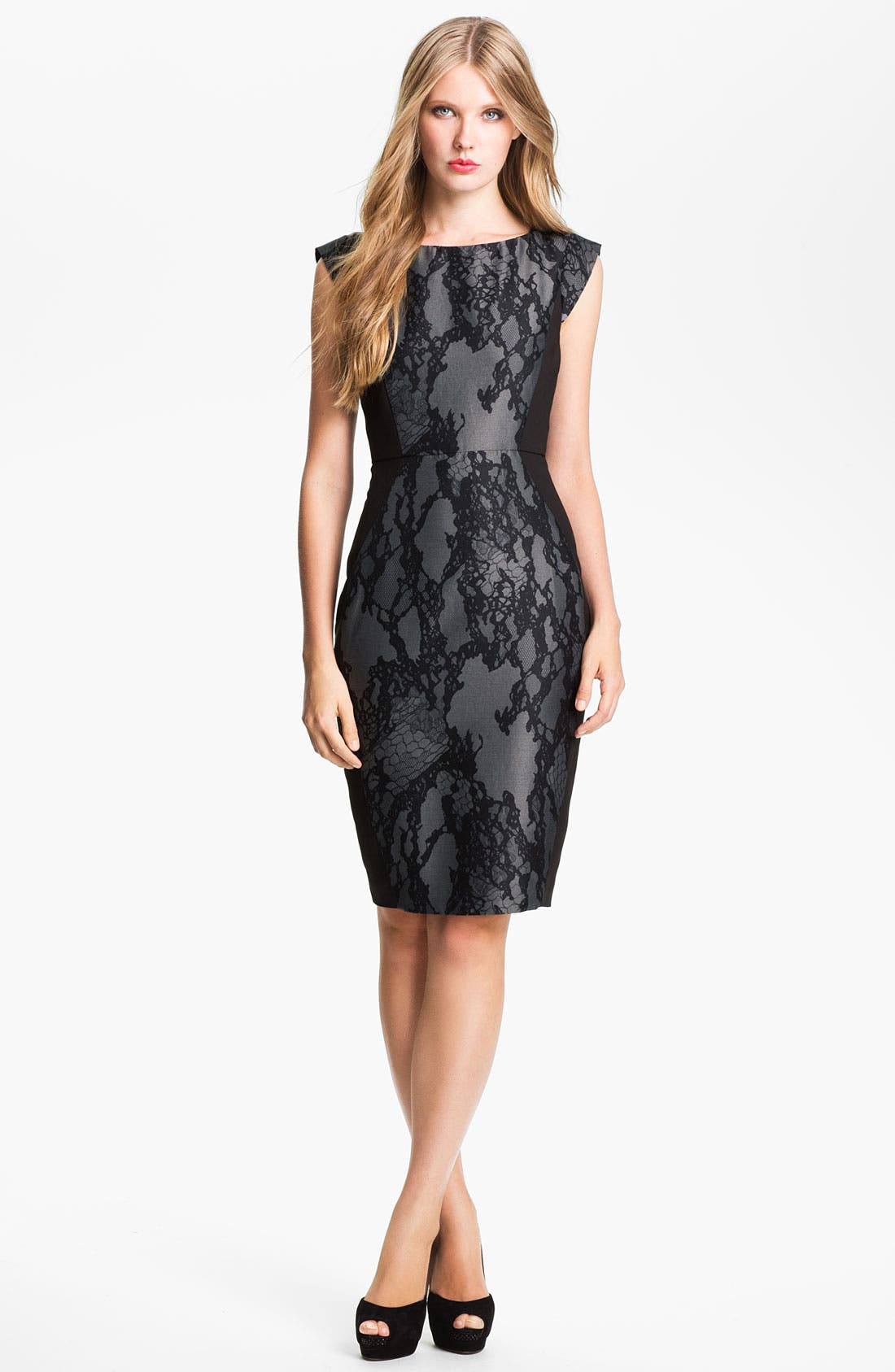 Main Image - French Connection 'Milly' Lace Front Cap Sleeve Sheath Dress