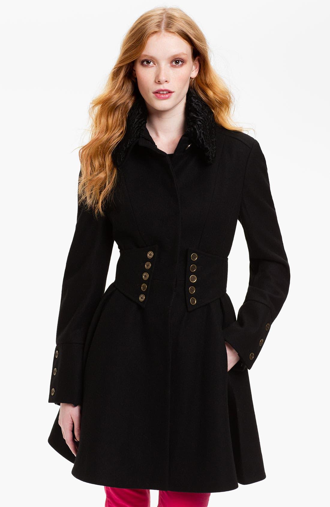 Main Image - Betsey Johnson Faux Fur Collar Coat