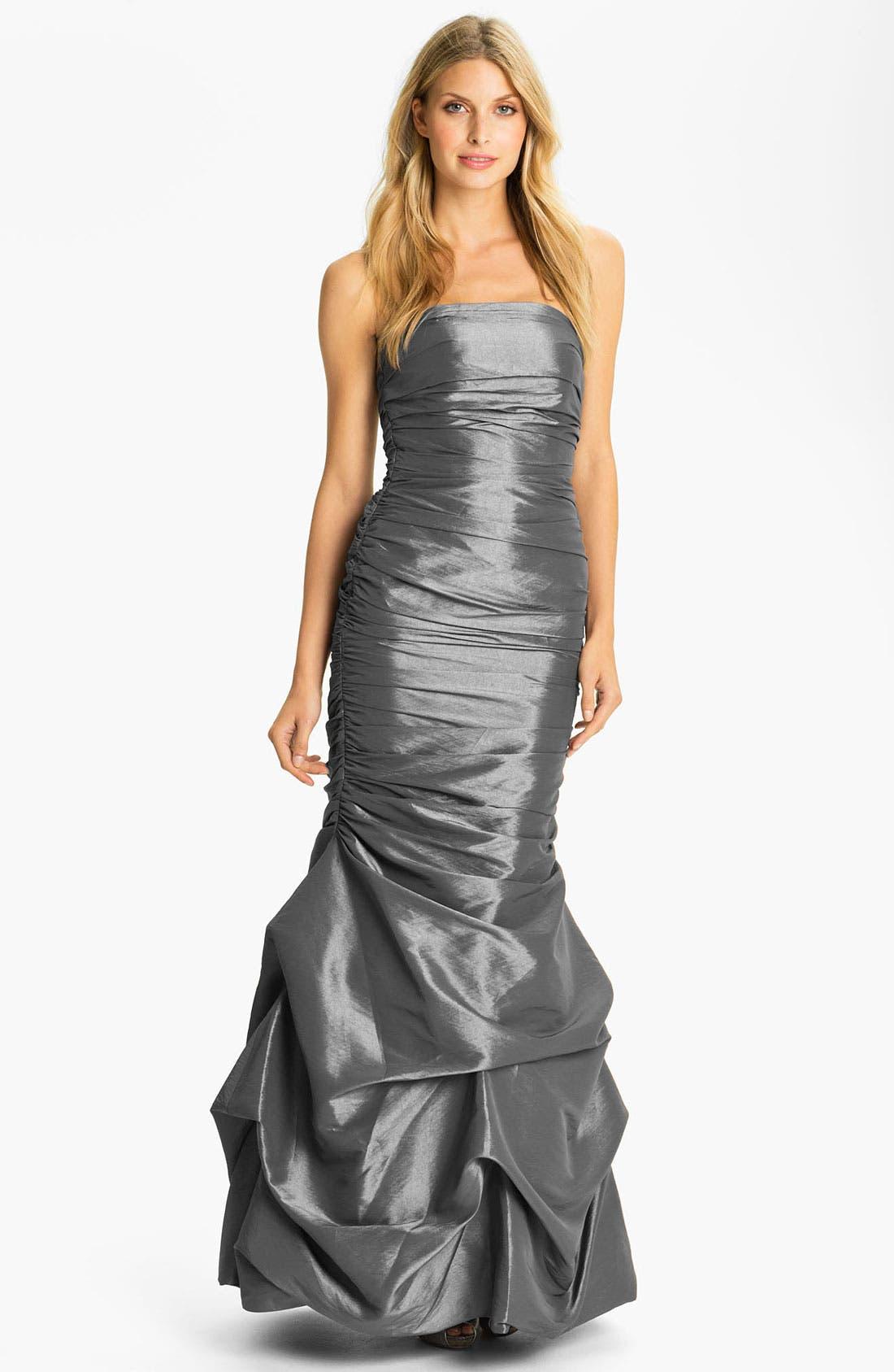 Alternate Image 1 Selected - Dalia MacPhee Strapless Ruched Taffeta Mermaid Gown