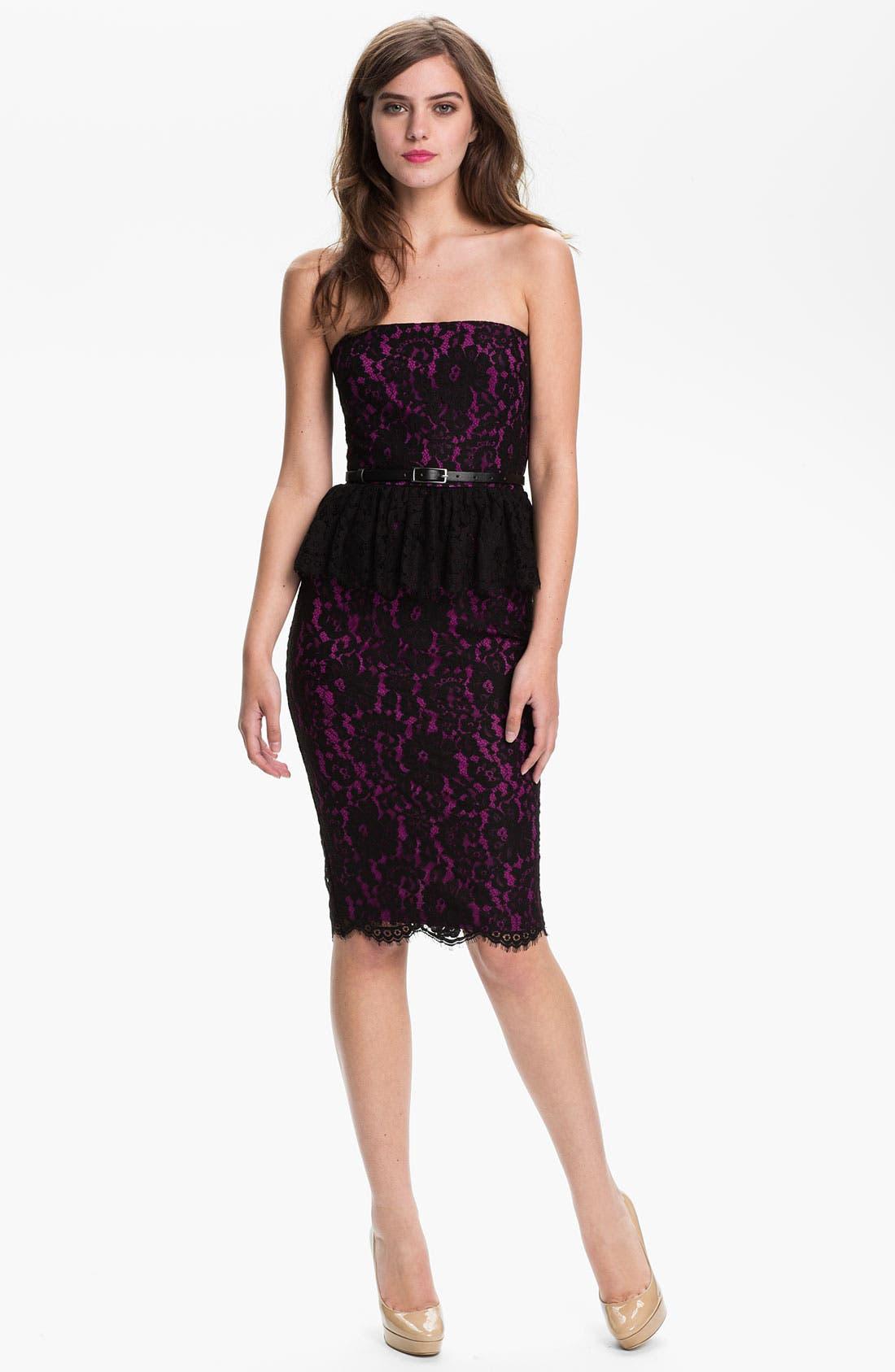 Main Image - Robert Rodriguez Strapless Lace Peplum Dress