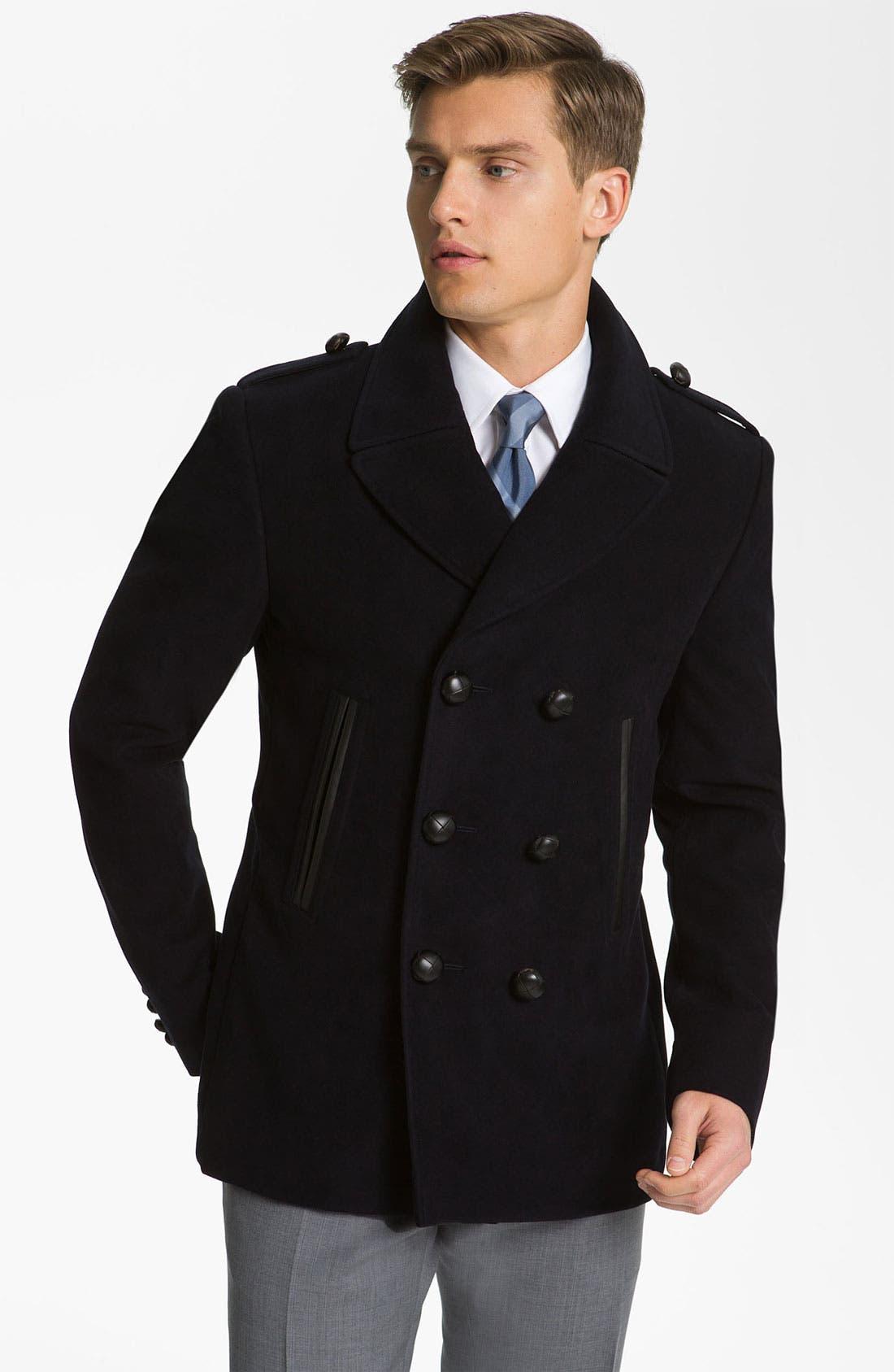Alternate Image 1 Selected - Burberry London Trim Fit Moleskin Coat