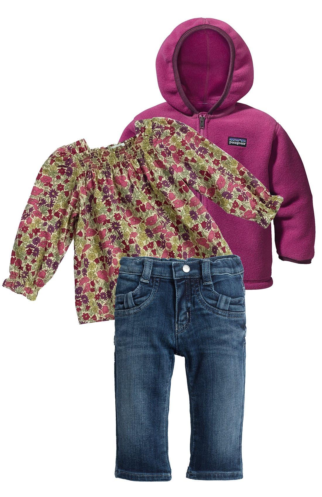 Alternate Image 1 Selected - Peek Top & Patagonia Cardigan (Infant)