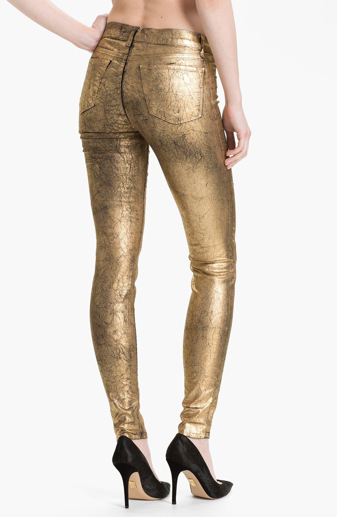 Alternate Image 2  - J Brand Metallic Stretch Denim Leggings