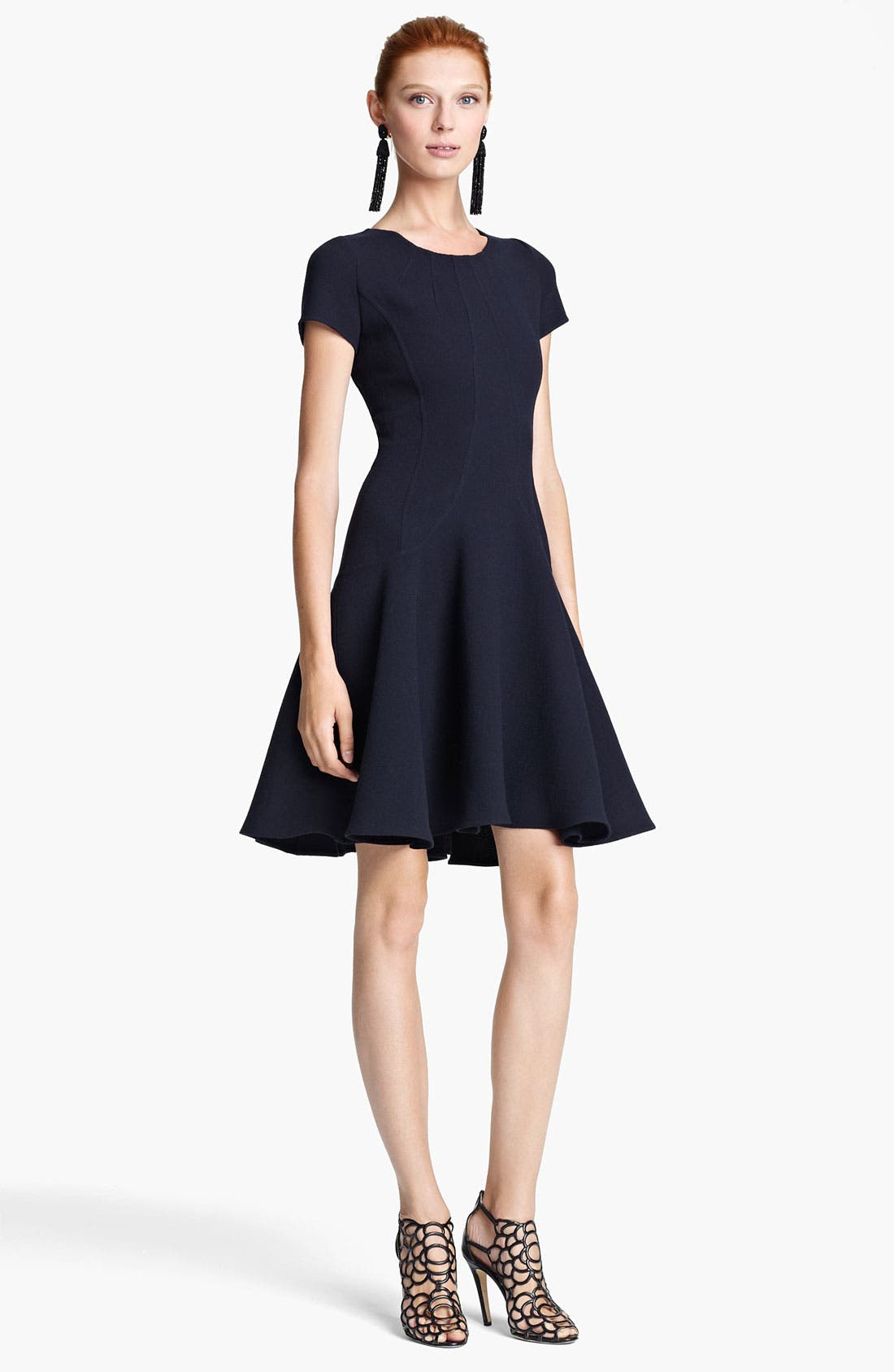 Main Image - Oscar de la Renta Wool Flounce Dress