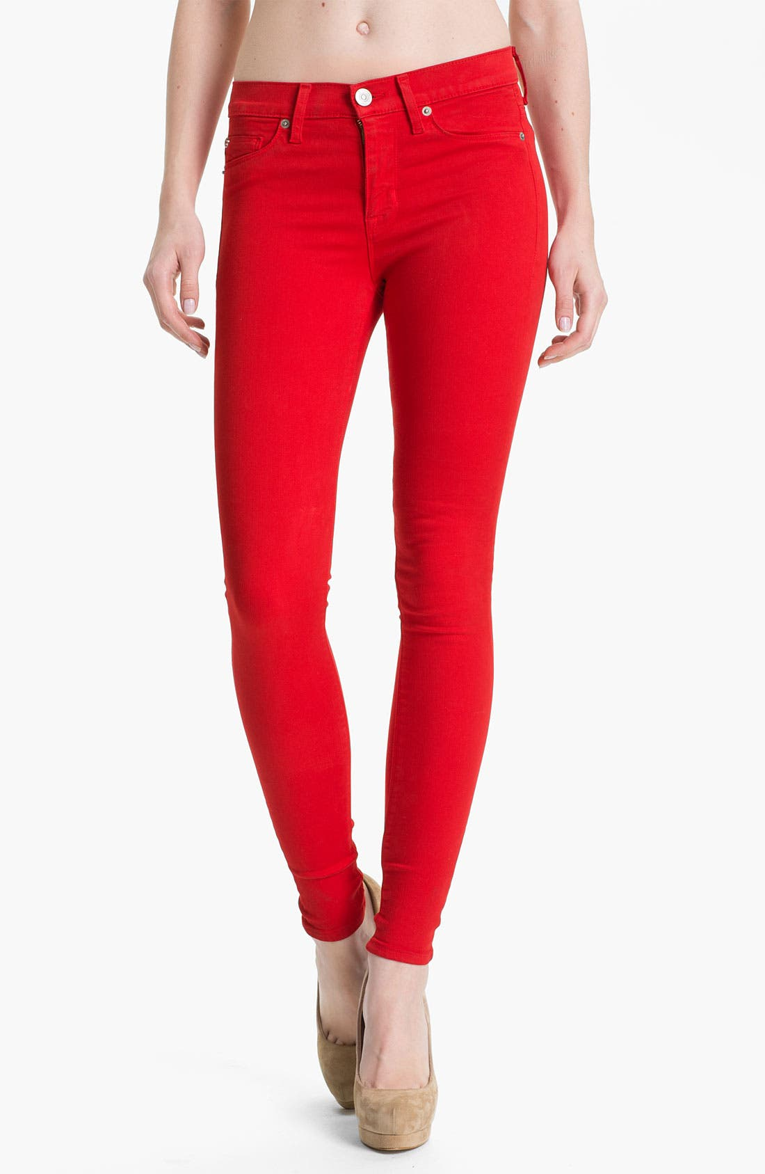 Main Image - Hudson Jeans 'Nico' Skinny Overdyed Jeans (Red)