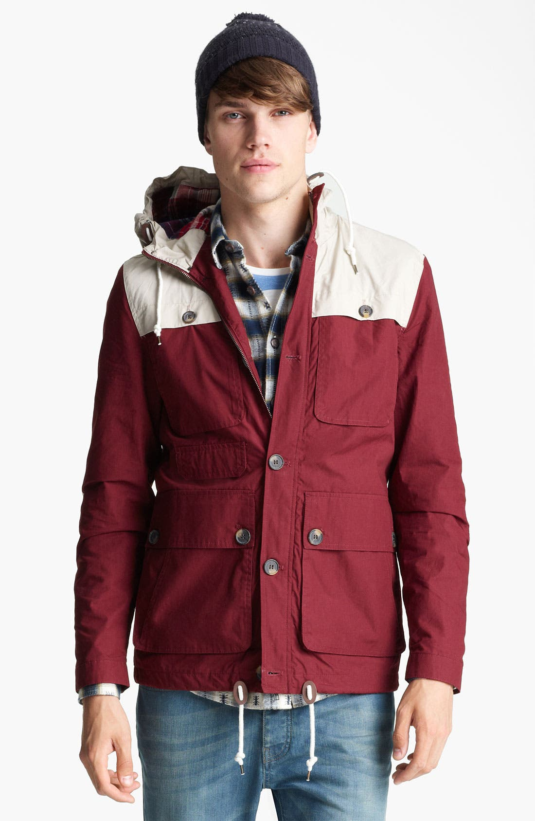 Main Image - Topman Colorblock Hooded Jacket