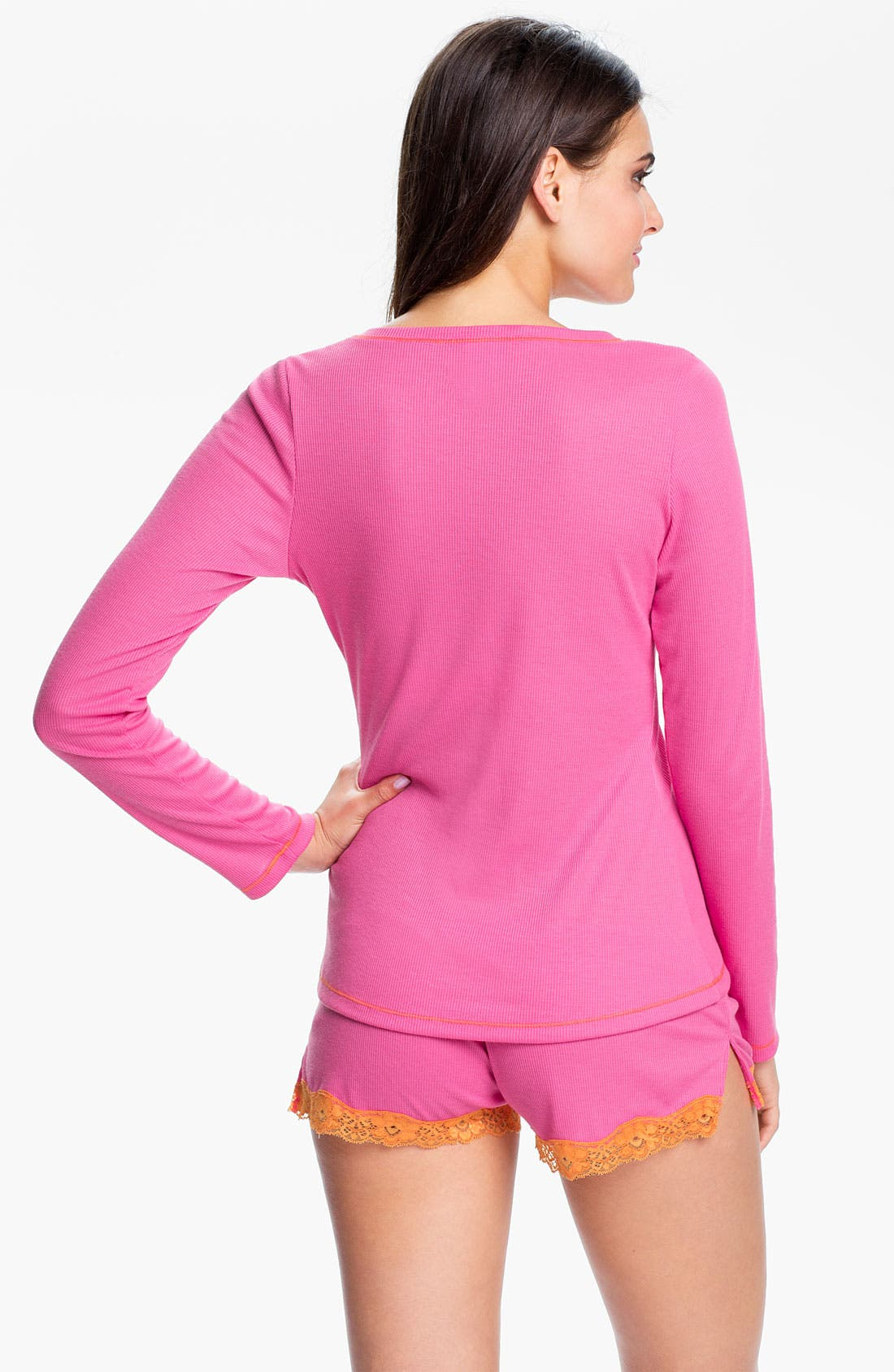 Contrast Trim Pajamas,                             Alternate thumbnail 2, color,                             Hot Pink W/ Dreamsicle
