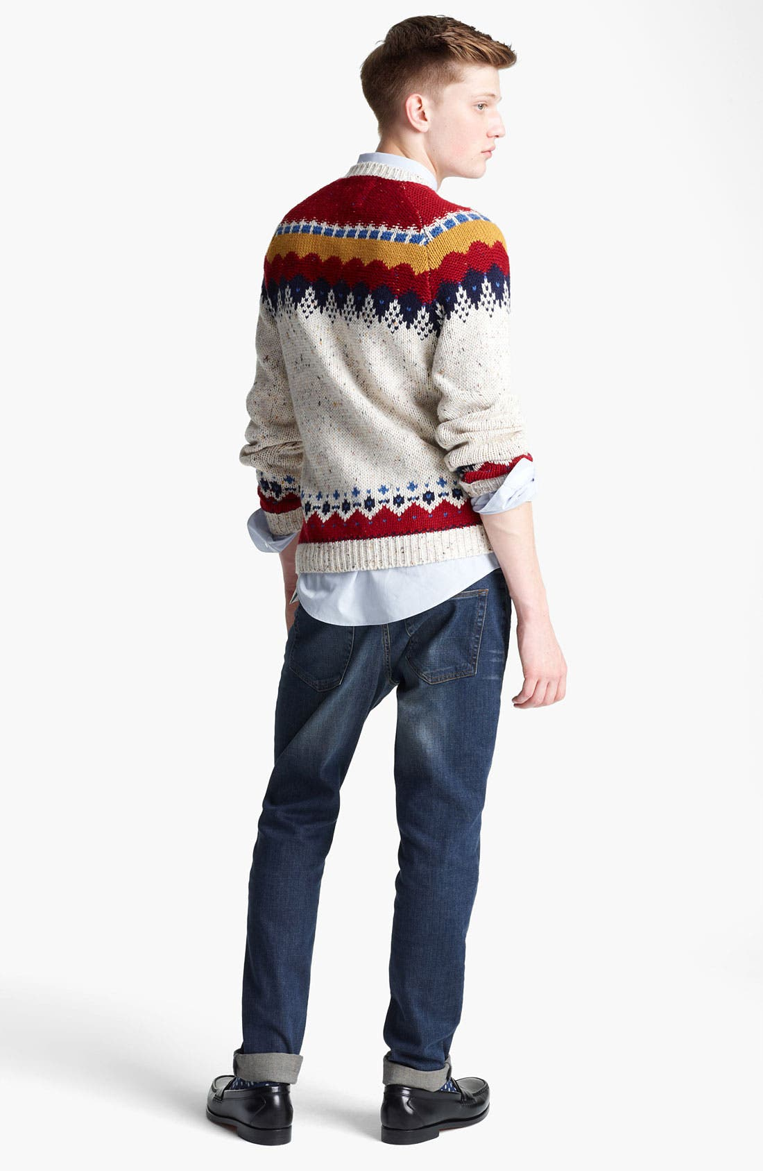 Alternate Image 5  - Topman Yoke Pattern Crewneck Sweater