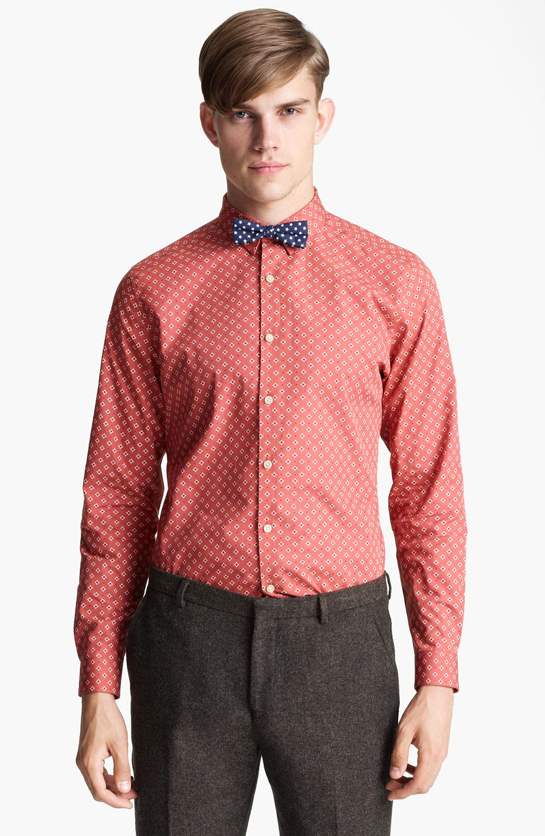 Alternate Image 1 Selected - Topman 'Smart' Extra Trim Diamond Print Dress Shirt