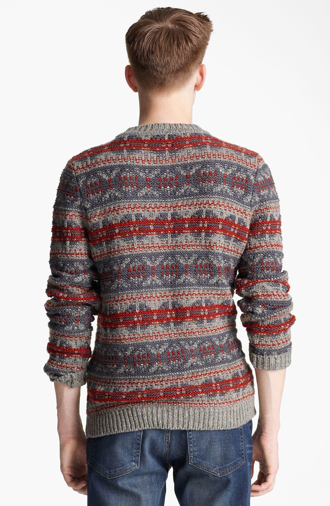 Alternate Image 2  - Topman Pattern Crewneck Sweater