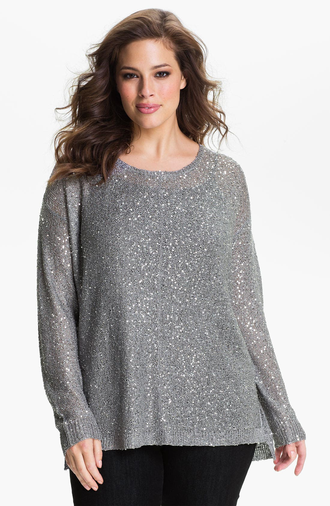 Alternate Image 1 Selected - DKNYC Sequin Pullover (Plus)
