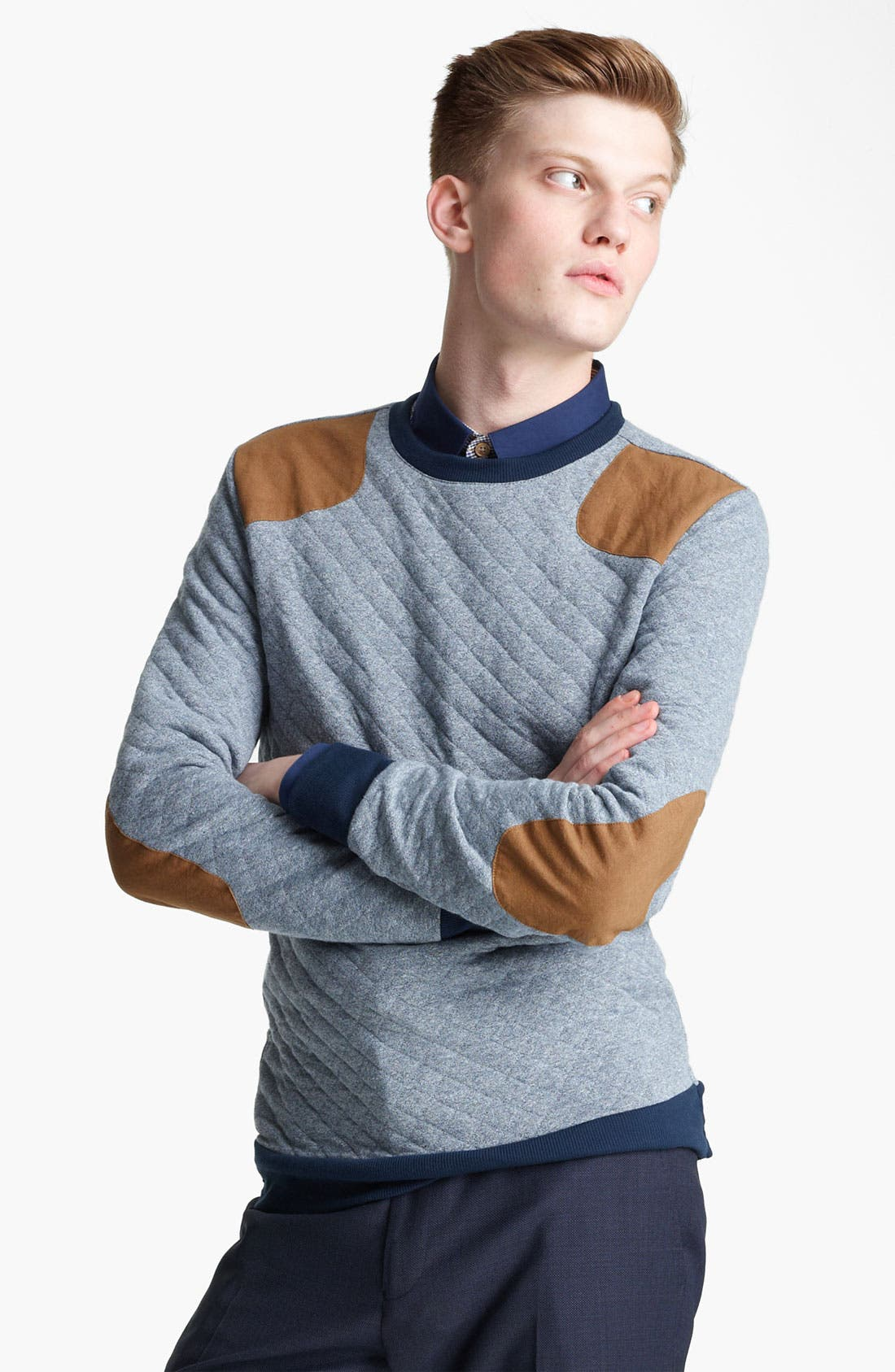 Alternate Image 1 Selected - Topman Quilted Crewneck Sweatshirt