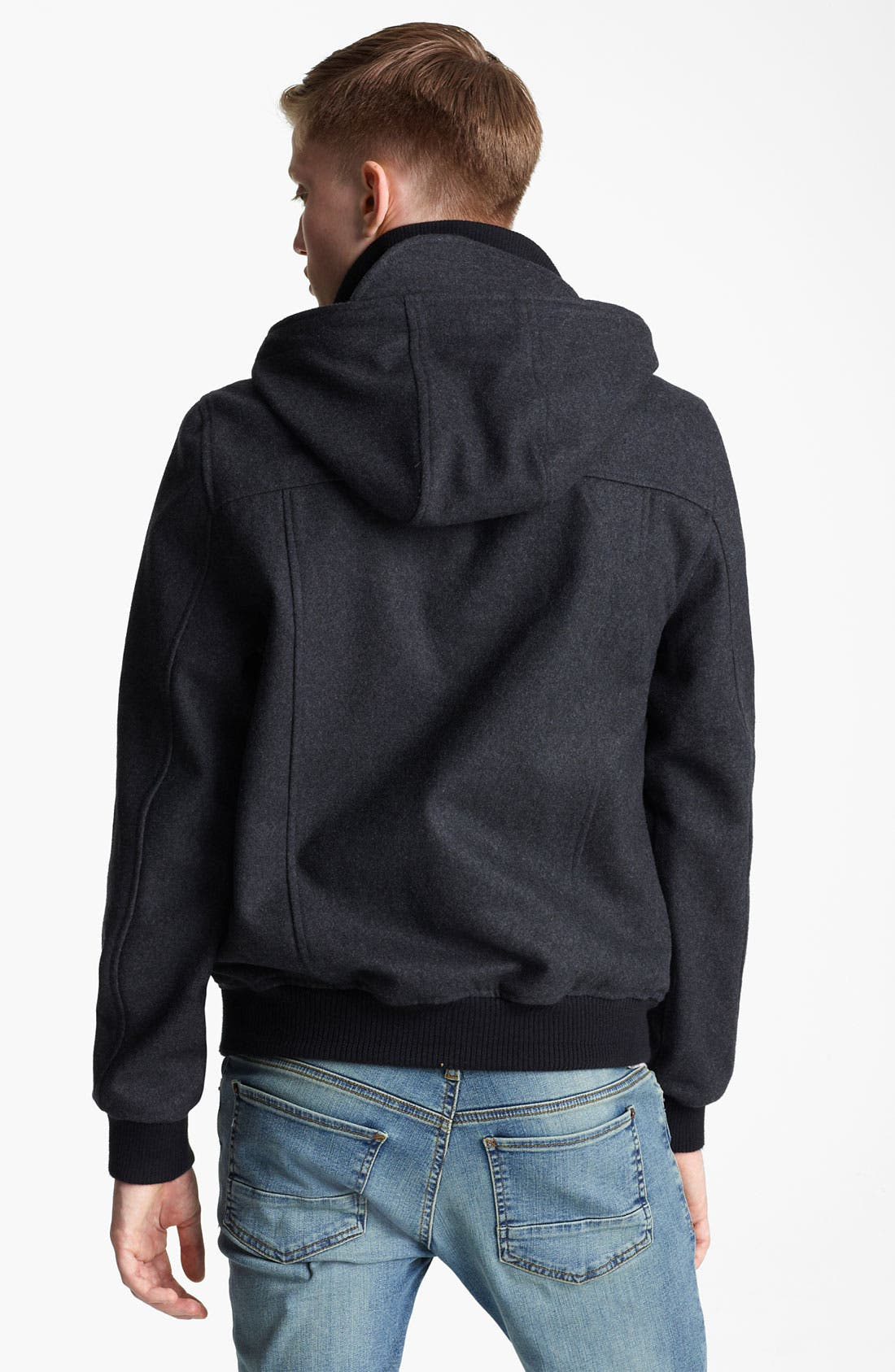 Alternate Image 2  - Topman Hooded Wool Blend Bomber Jacket