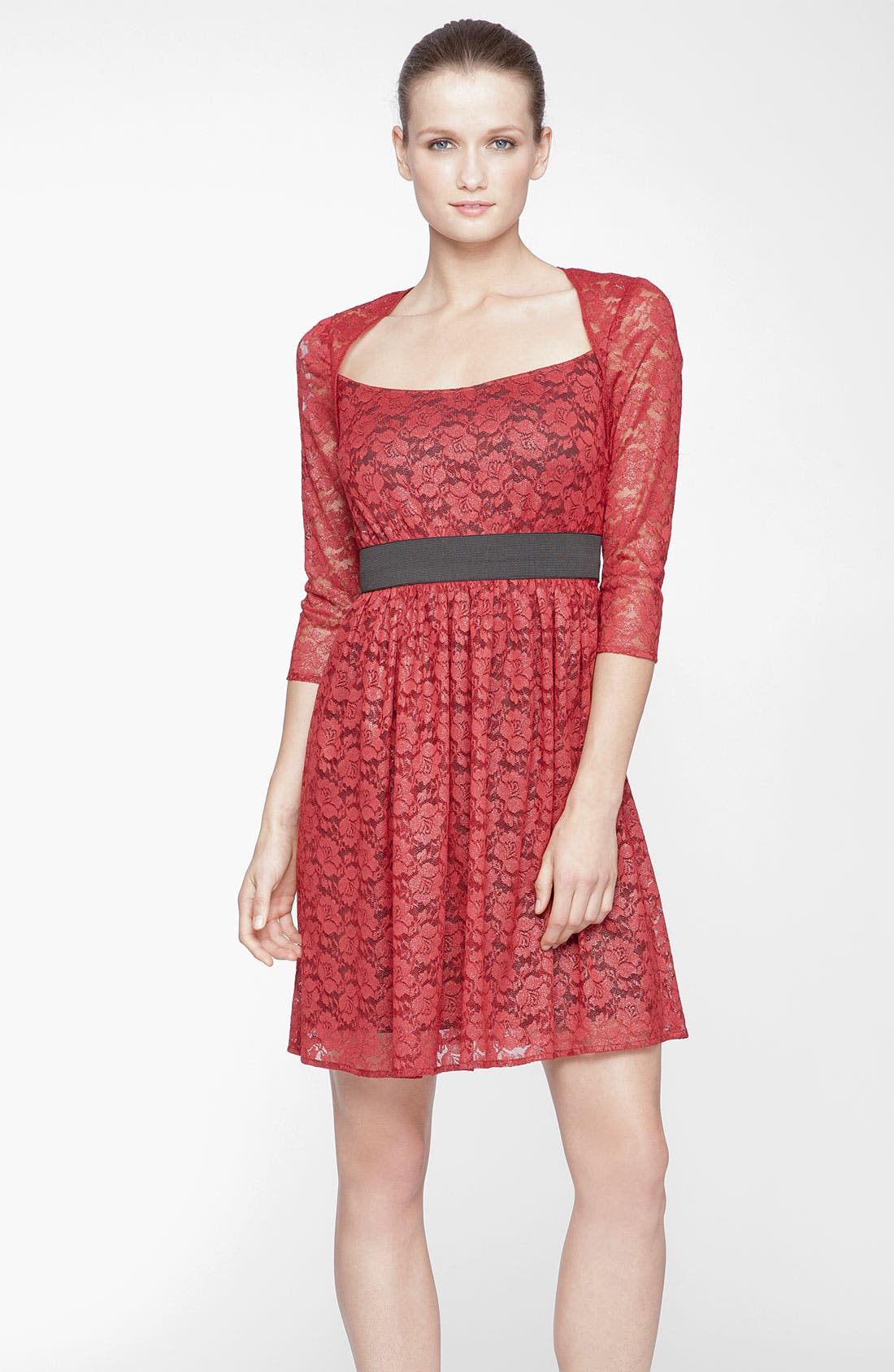 Main Image - Marc New York by Andrew Marc Square Neck Lace Fit & Flare Dress
