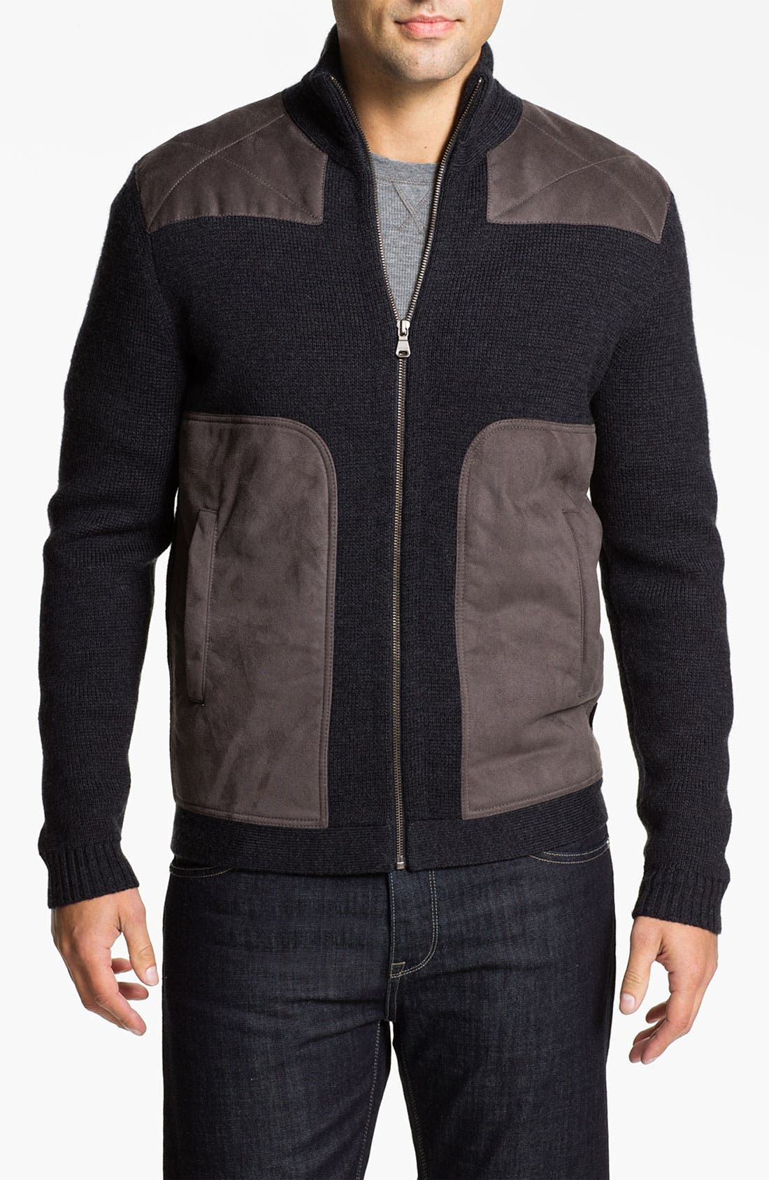 Main Image - BOSS Black 'Laurin' Wool Blend Zip Cardigan with Suede Trim