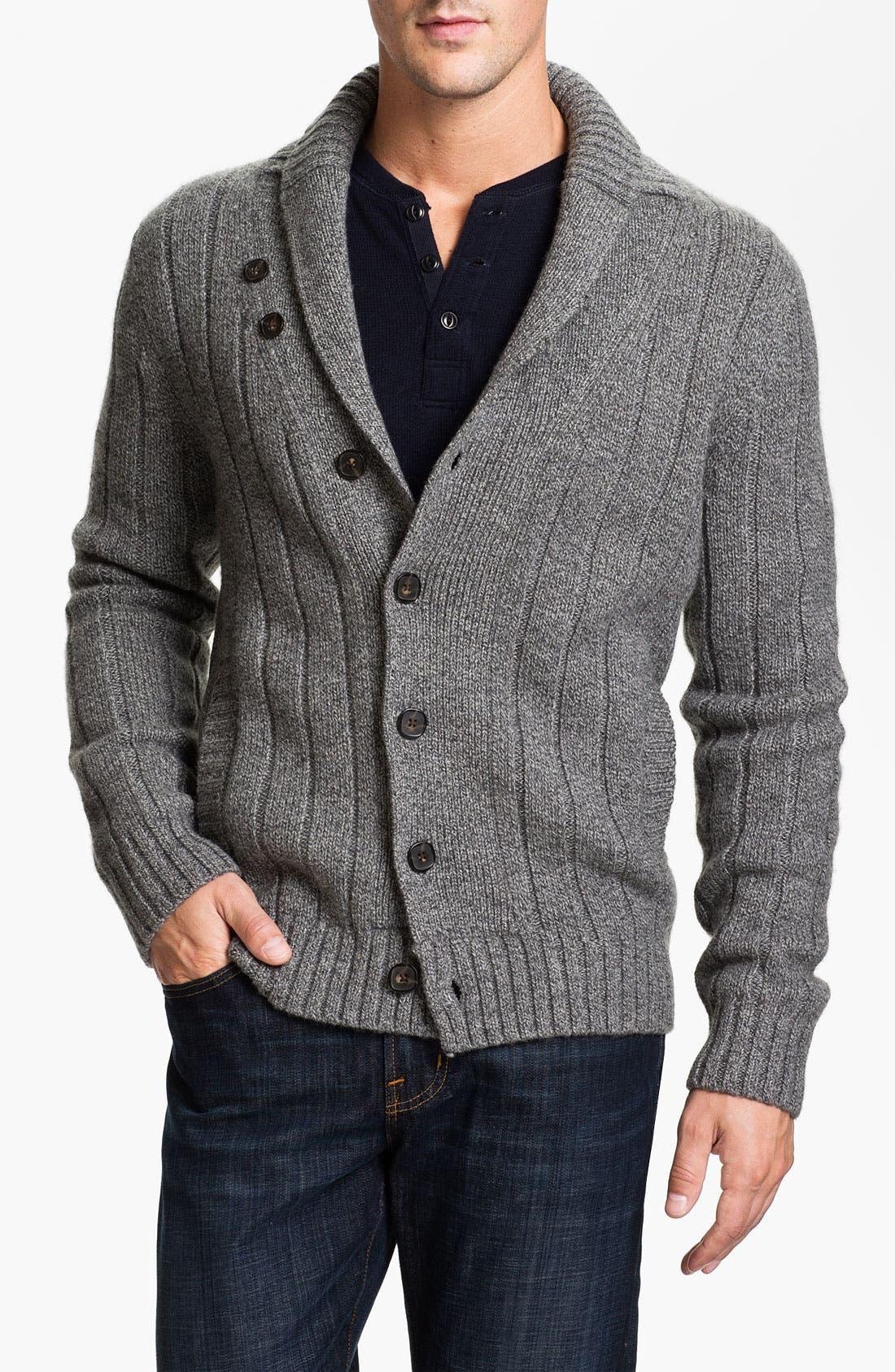 Alternate Image 1 Selected - Façonnable Tailored Denim Shawl Collar Merino Wool Cardigan