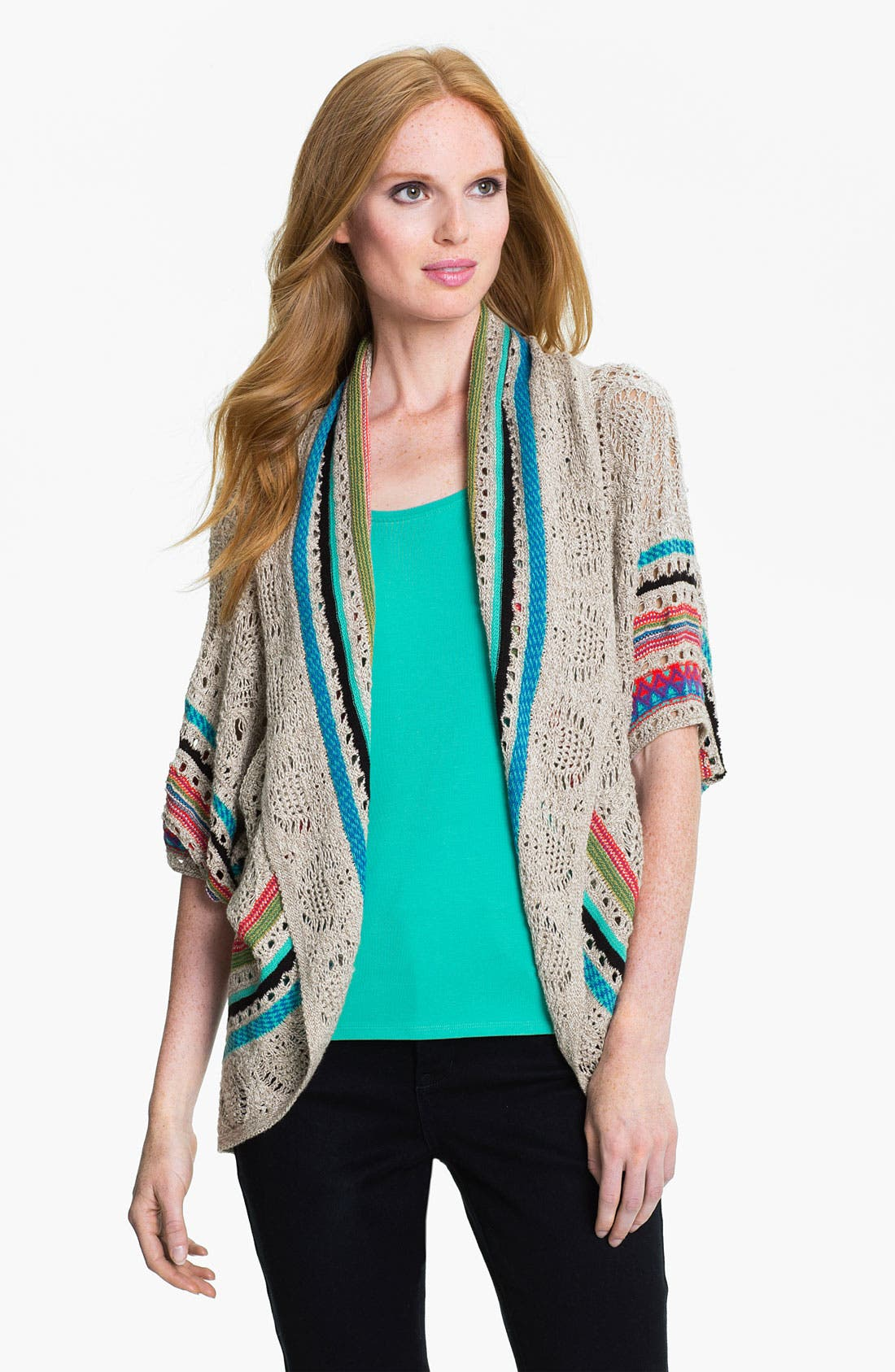 Alternate Image 1 Selected - Nic + Zoe Circle Cut Pointelle Cardigan