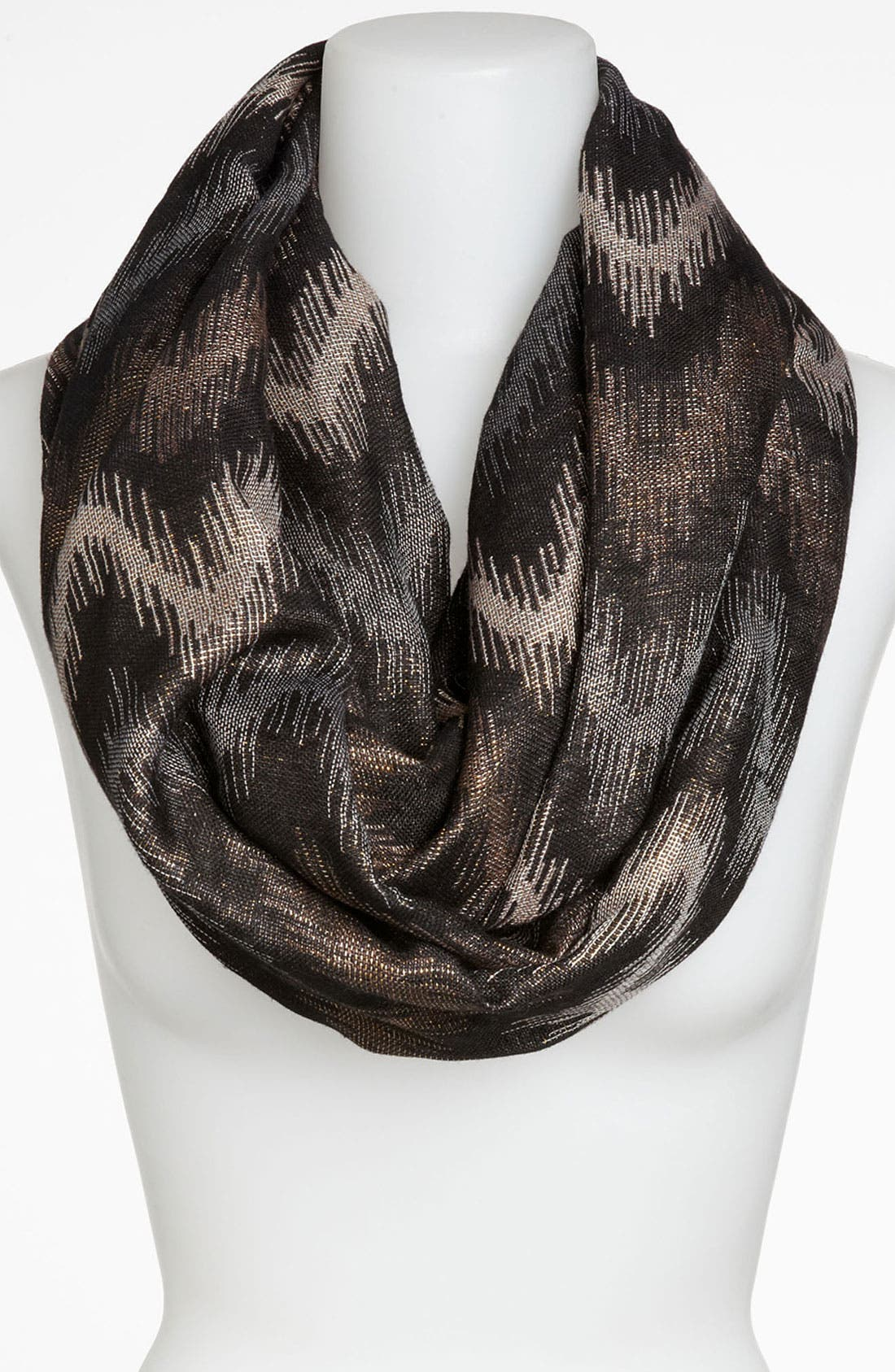 Alternate Image 1 Selected - David & Young Metallic Flame Stitch Infinity Scarf