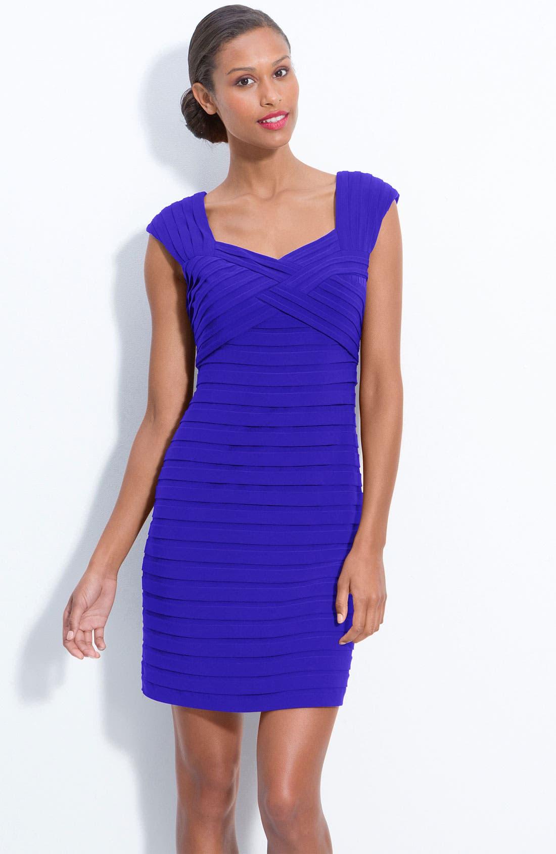 Pleated Sheath Dress,                         Main,                         color, Marine