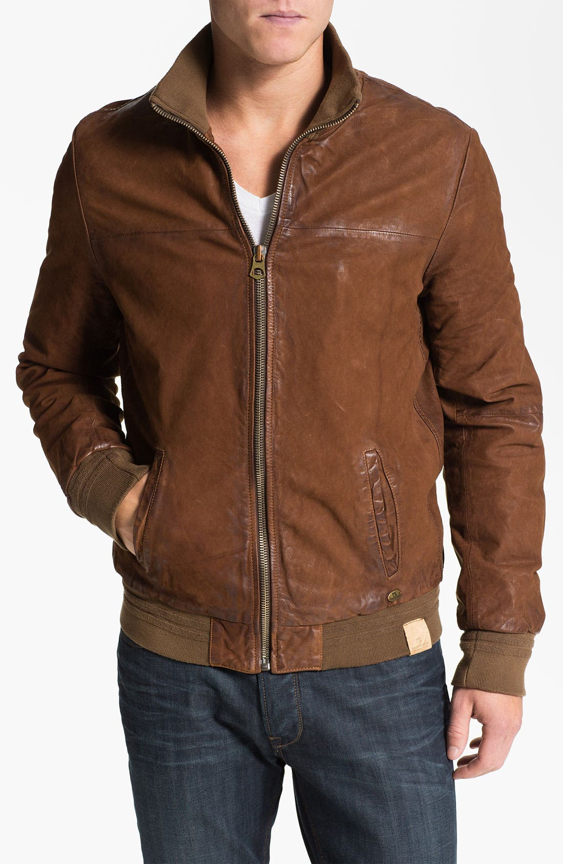 Main Image - Scotch & Soda Leather Bomber Jacket
