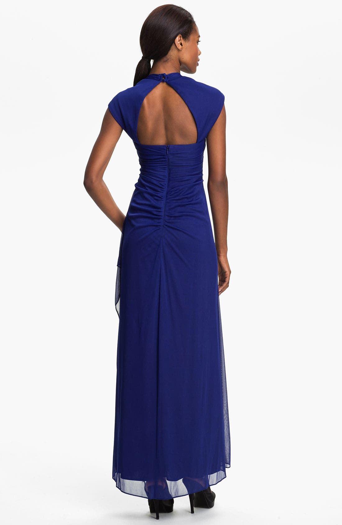 Alternate Image 2  - Xscape Cap Sleeve Draped Mesh Gown