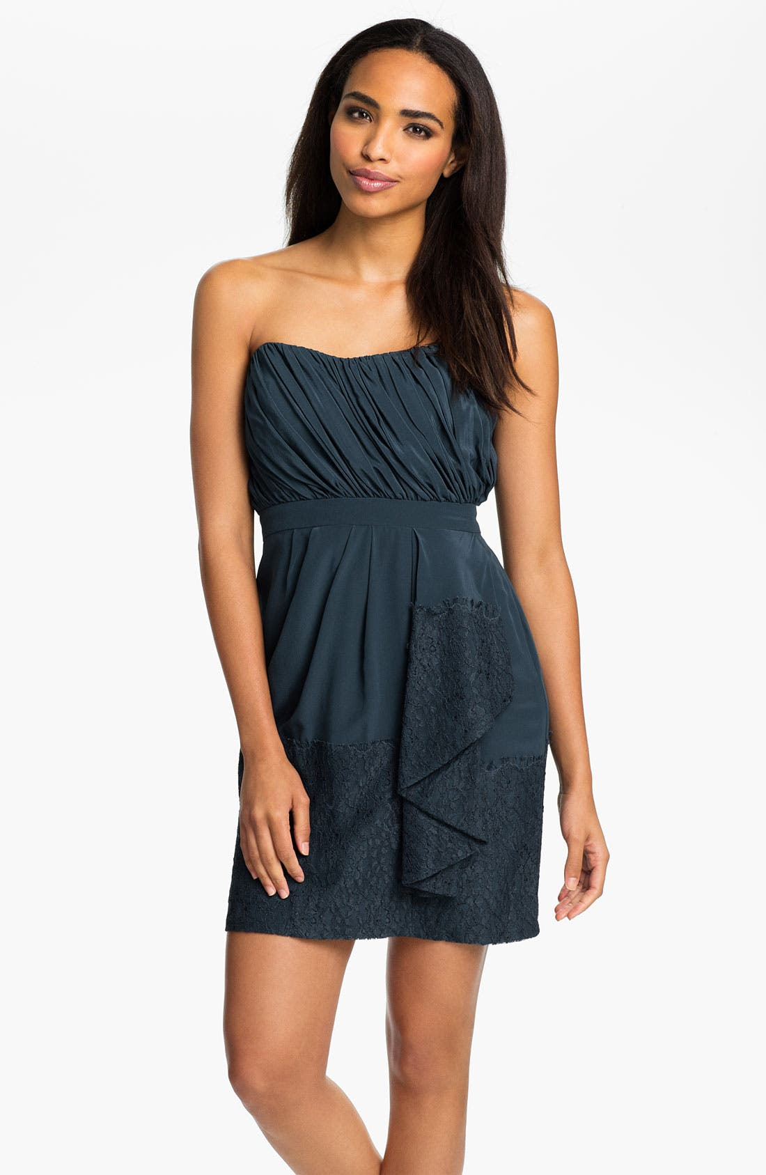 Main Image - Shoshanna Strapless Chantilly Lace Trim Silk Dress