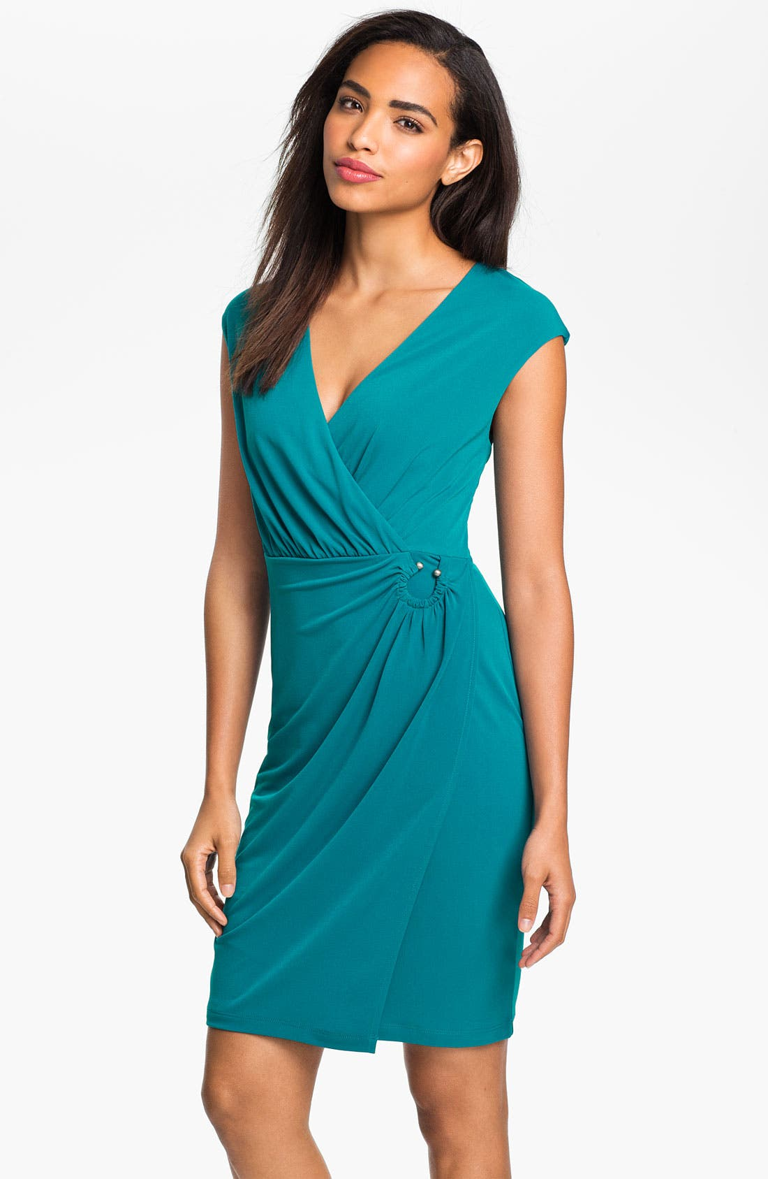 Alternate Image 1 Selected - Calvin Klein Surplice Jersey Day Dress