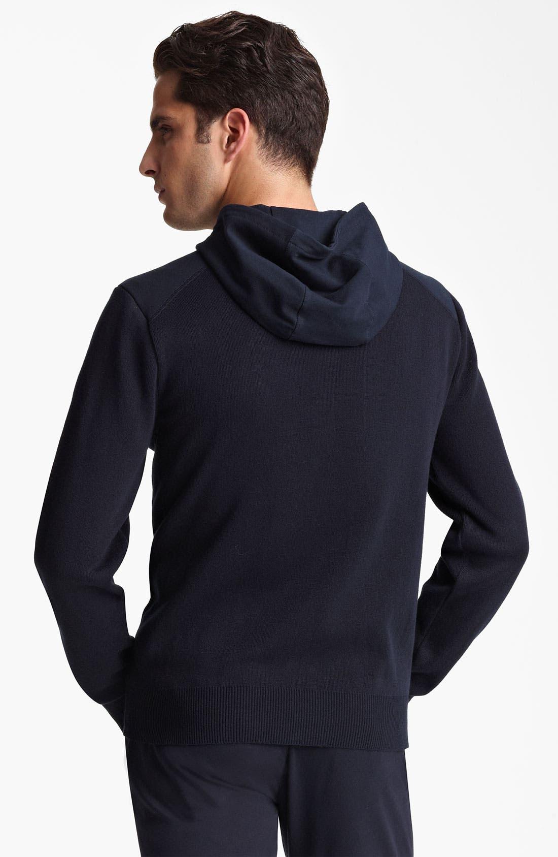 Alternate Image 2  - Armani Collezioni Knit Zip Hoodie