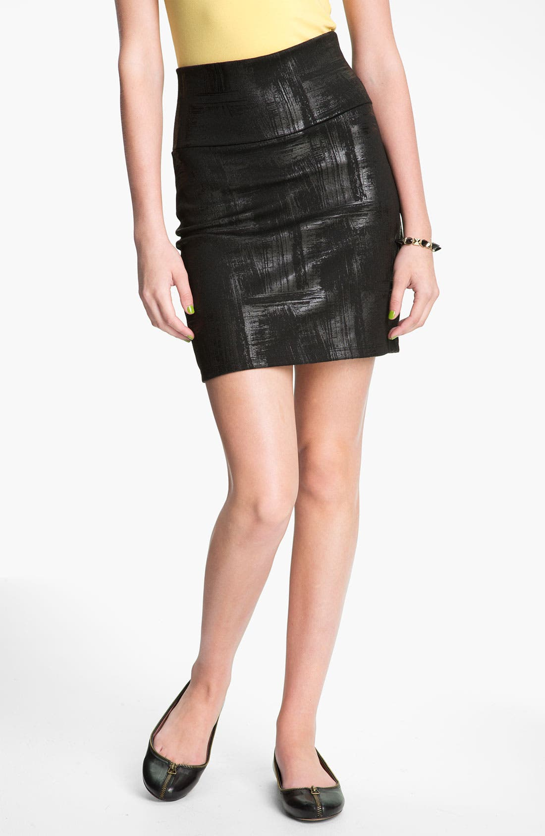 Alternate Image 1 Selected - Lily White 'Brushed Coated' Pencil Skirt (Juniors)