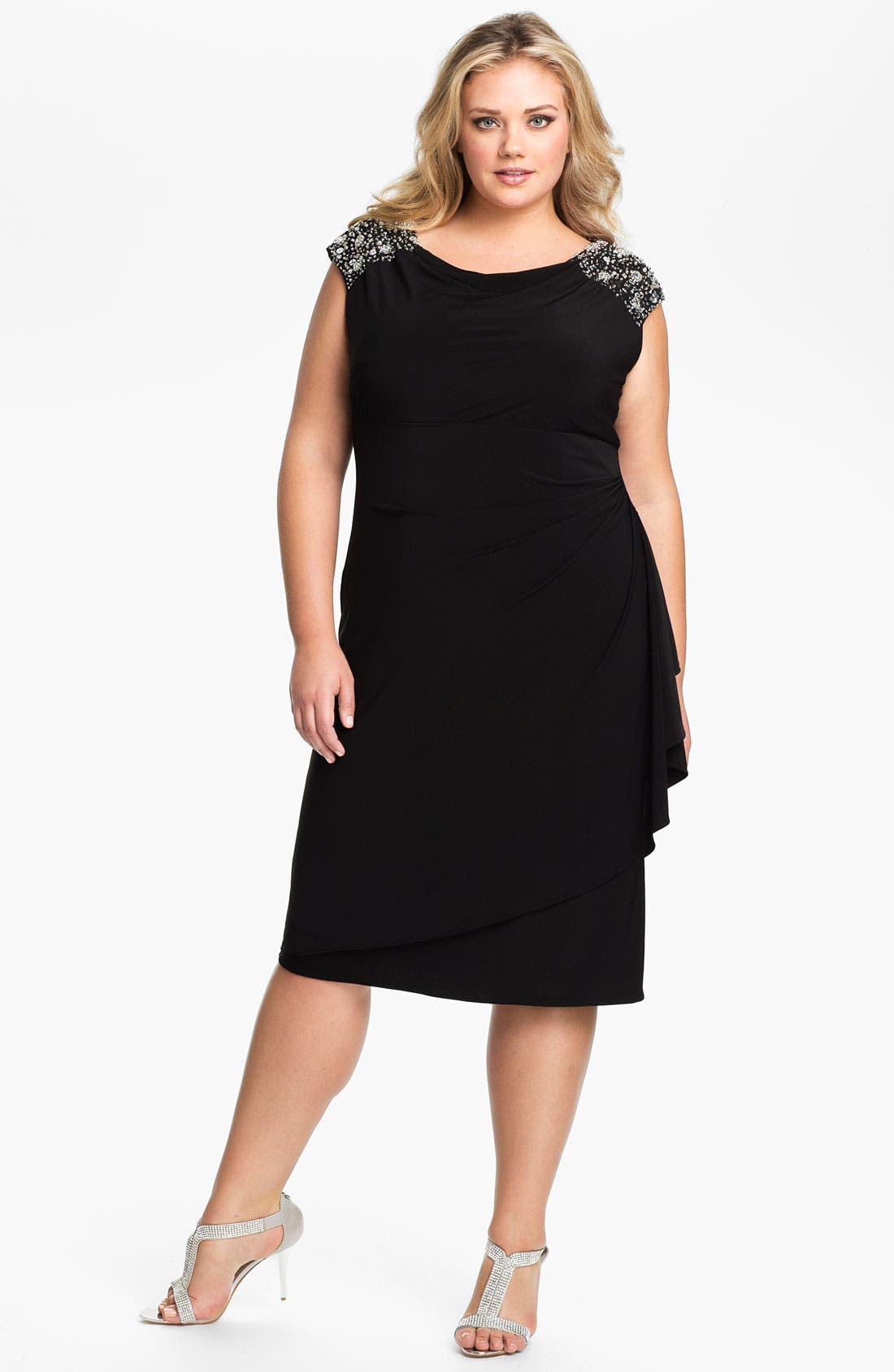 Main Image - Alex Evenings Beaded Shoulder Faux Wrap Jersey Dress (Plus Size)