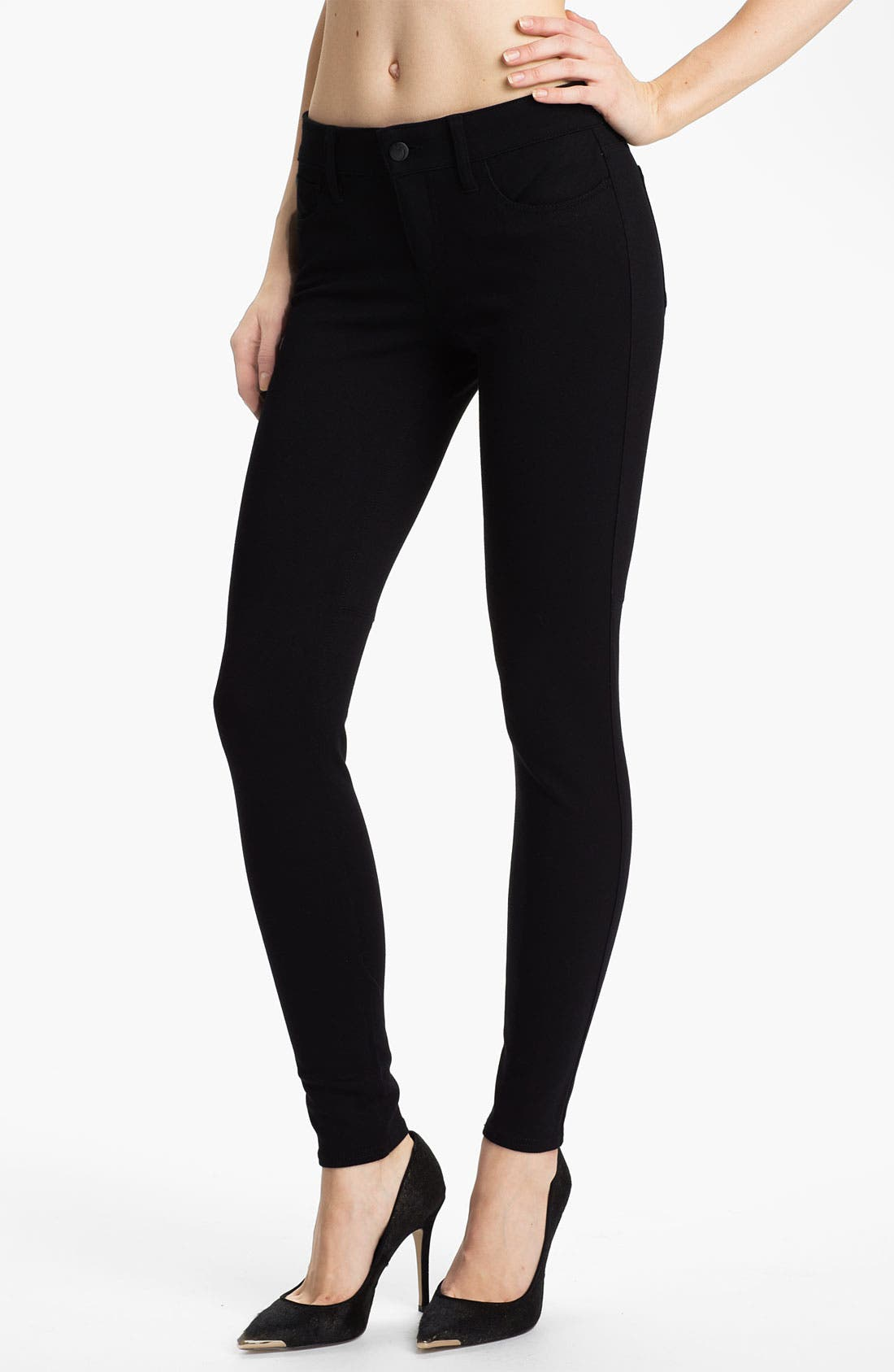 Skinny Ponte Knit Pants,                             Main thumbnail 1, color,                             Black