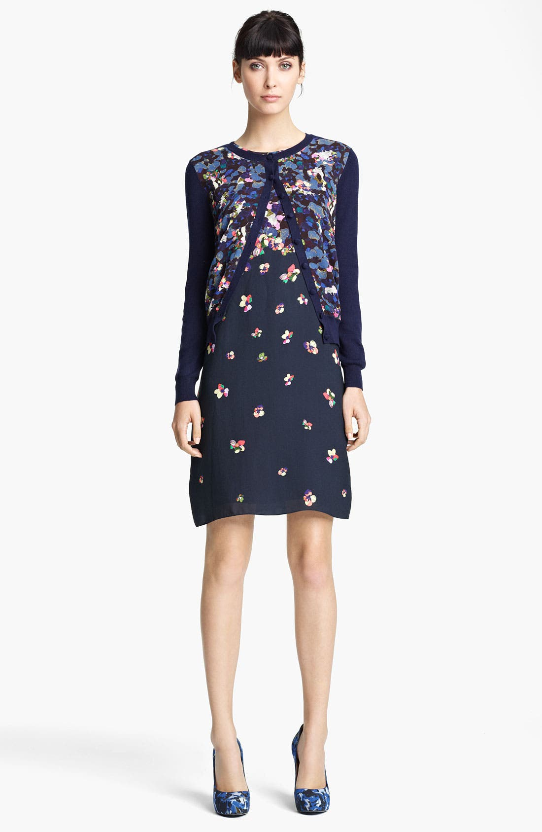 Alternate Image 1 Selected - Erdem Print Crepe & Knit Cardigan