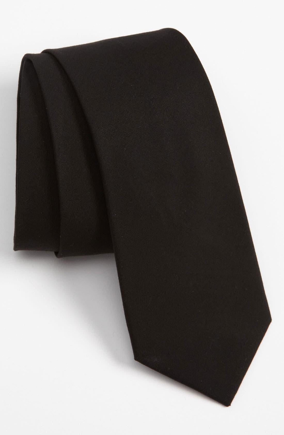 Solid Cotton Tie,                             Main thumbnail 1, color,                             Black