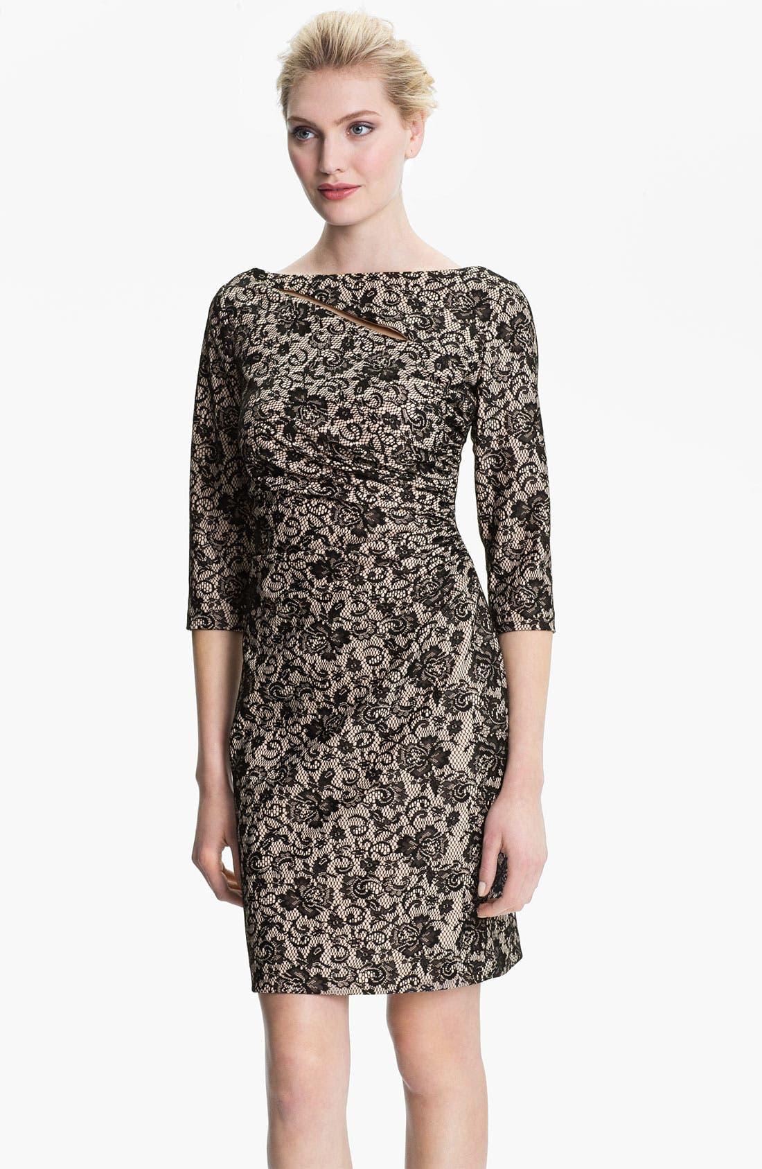 Alternate Image 1 Selected - Kay Unger V-Back Ruched Lace Jacquard Dress