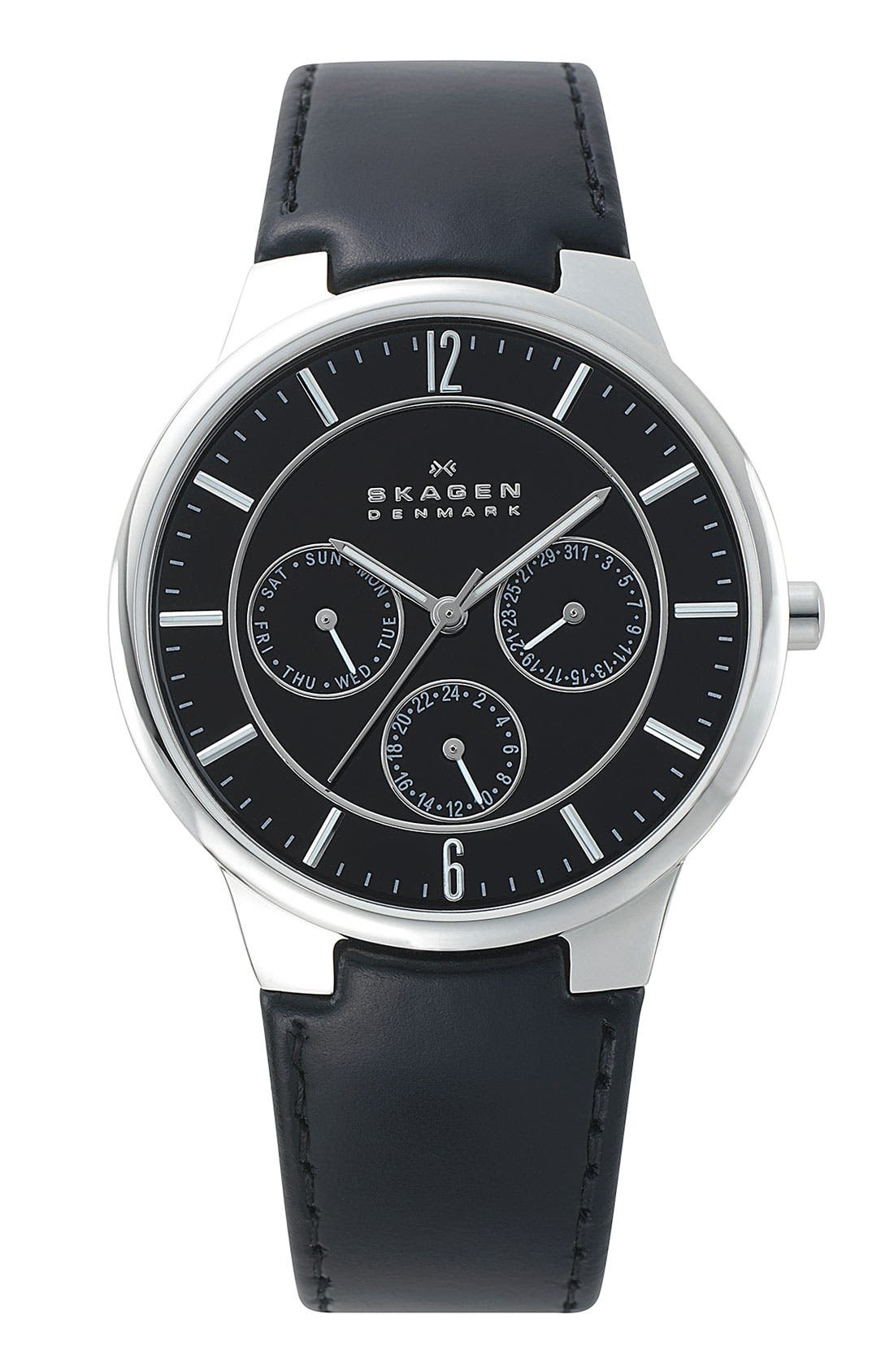 Main Image - Skagen Round Multifunction Leather Strap Watch, 38mm