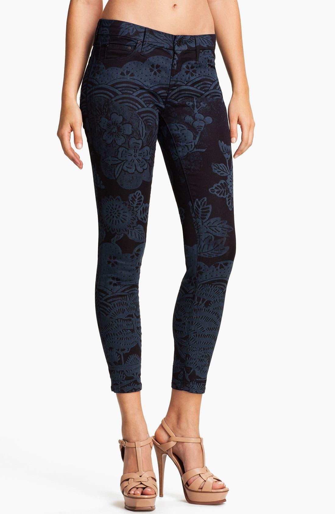 Alternate Image 1 Selected - MOTHER 'The Looker' Print Skinny Crop Jeans (Moon of Tokyo)