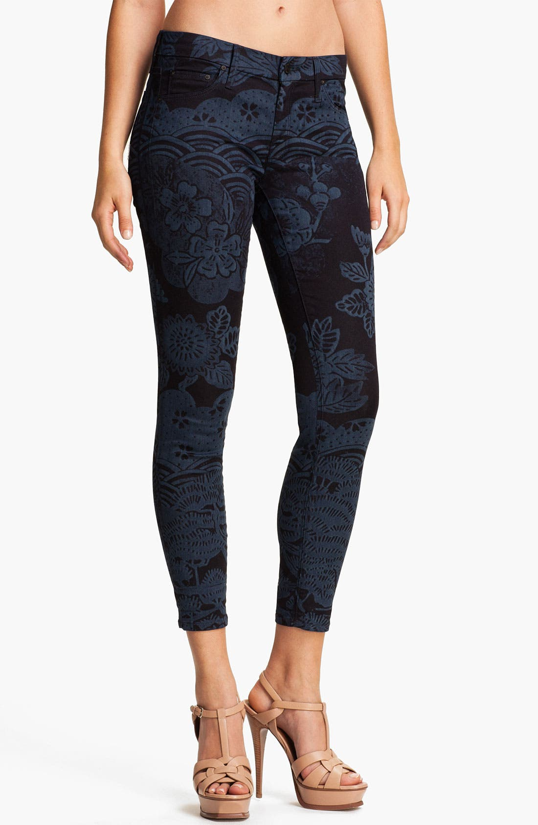 Main Image - MOTHER 'The Looker' Print Skinny Crop Jeans (Moon of Tokyo)