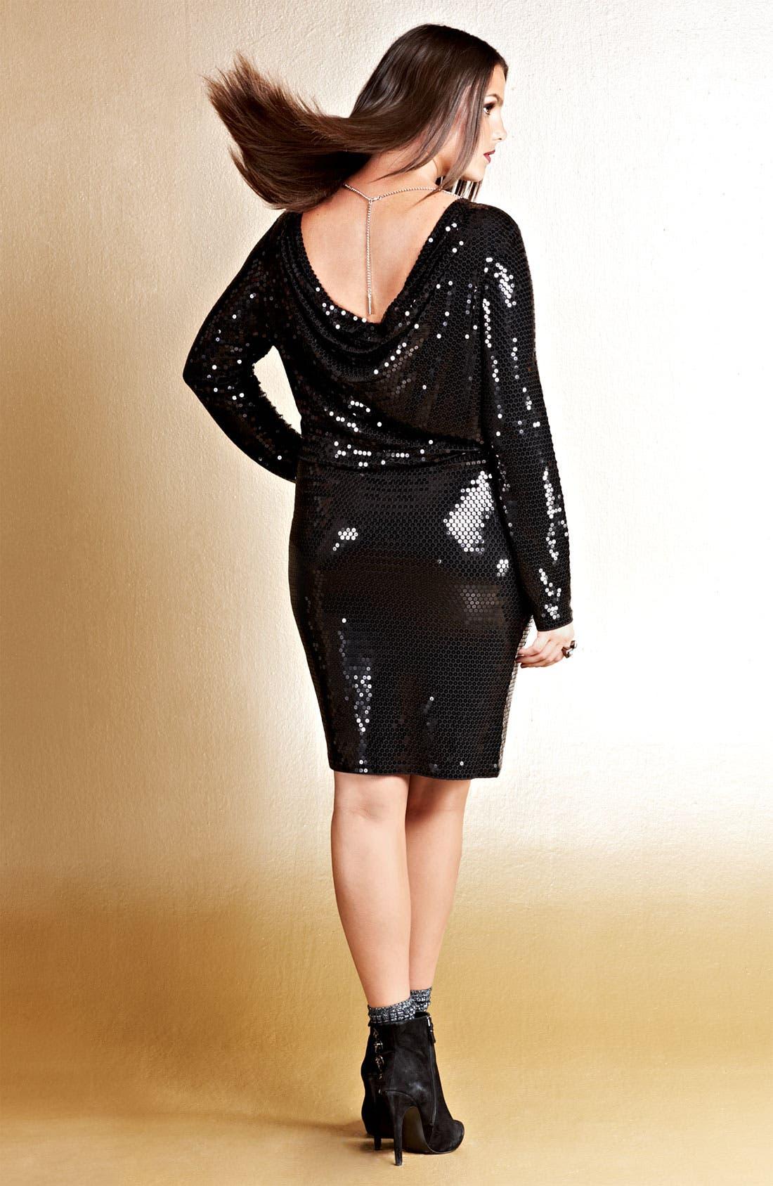 Alternate Image 4  - MICHAEL Michael Kors Sequin Drape Back Dress (Plus)