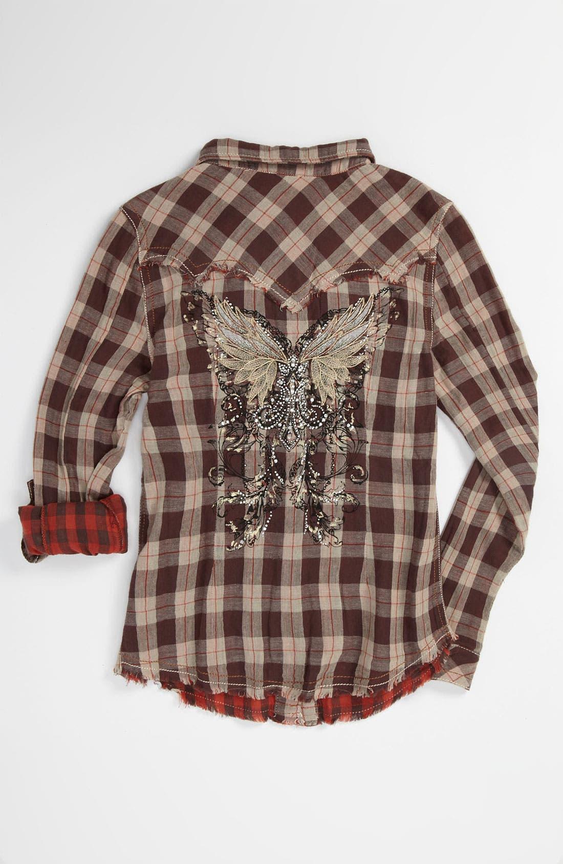Alternate Image 2  - Miss Me Plaid Shirt (Big Girls)