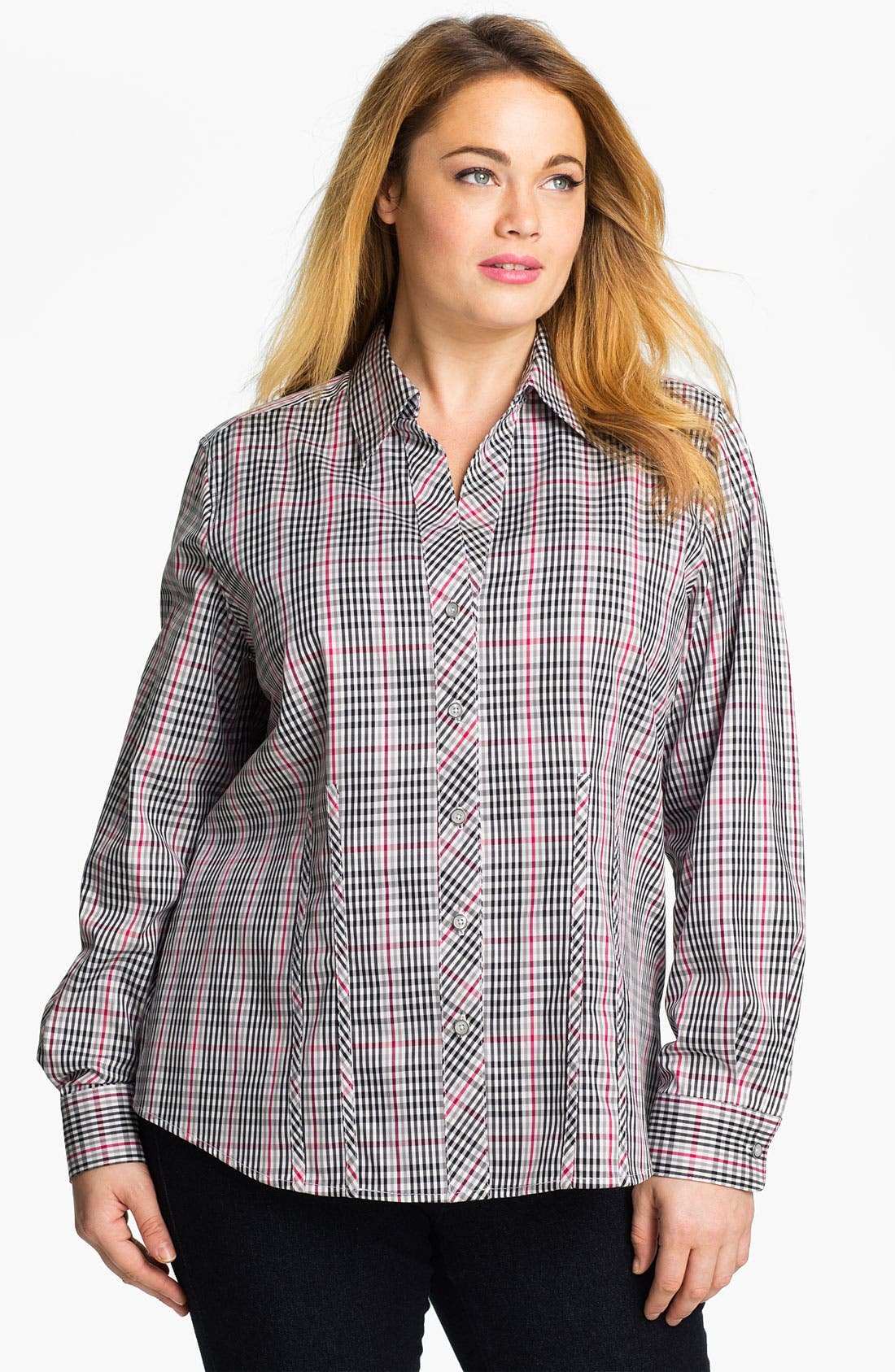 Main Image - Foxcroft 'Holiday Check' Wrinkle Free Shaped Shirt (Plus)