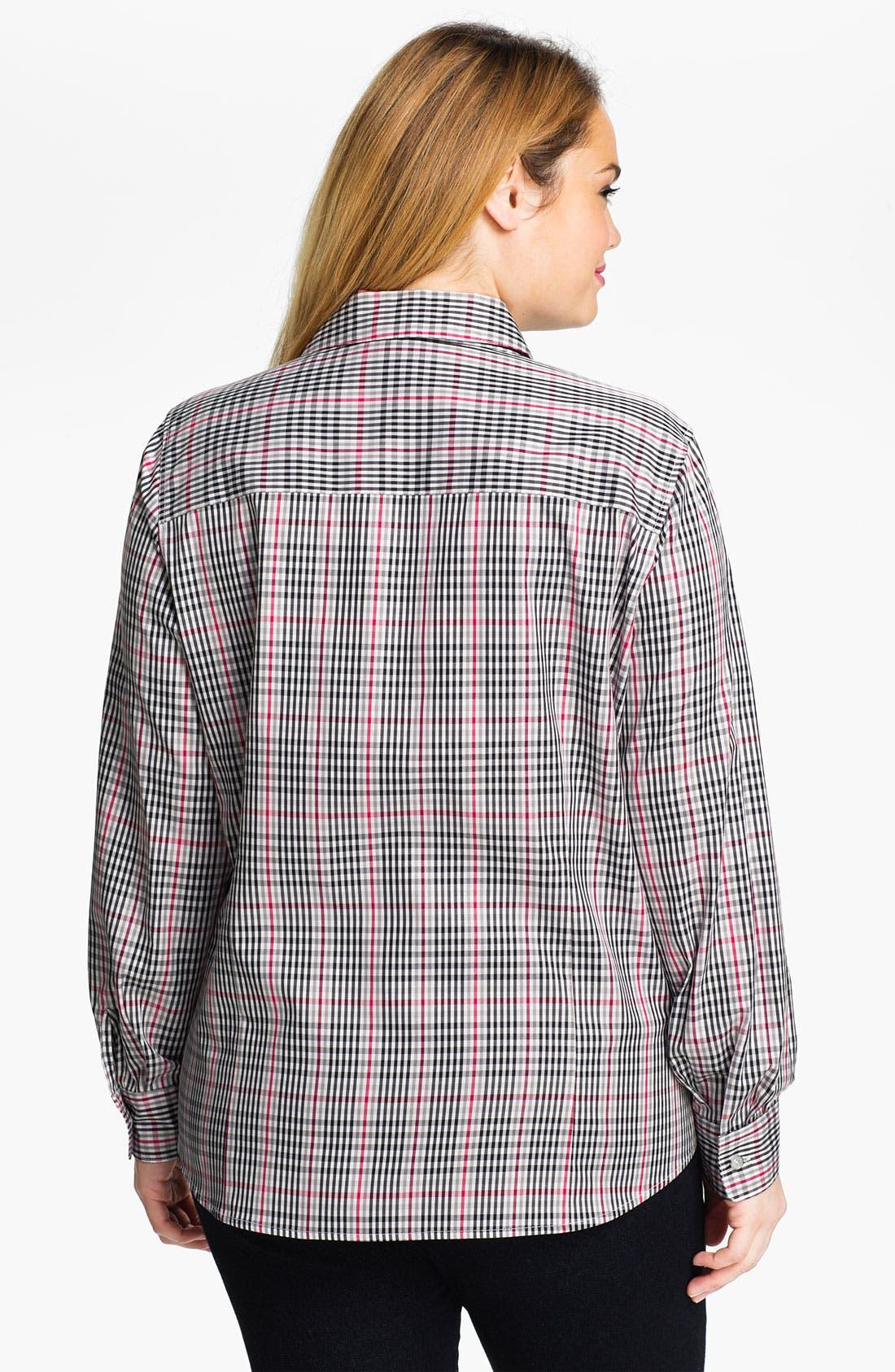 Alternate Image 2  - Foxcroft 'Holiday Check' Wrinkle Free Shaped Shirt (Plus)