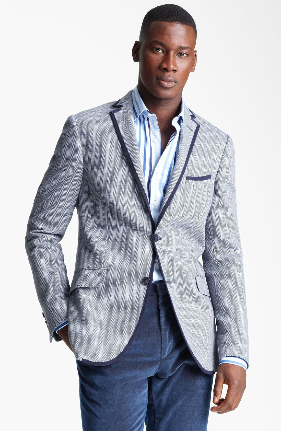 Alternate Image 1 Selected - Etro Herringbone Cotton Blazer