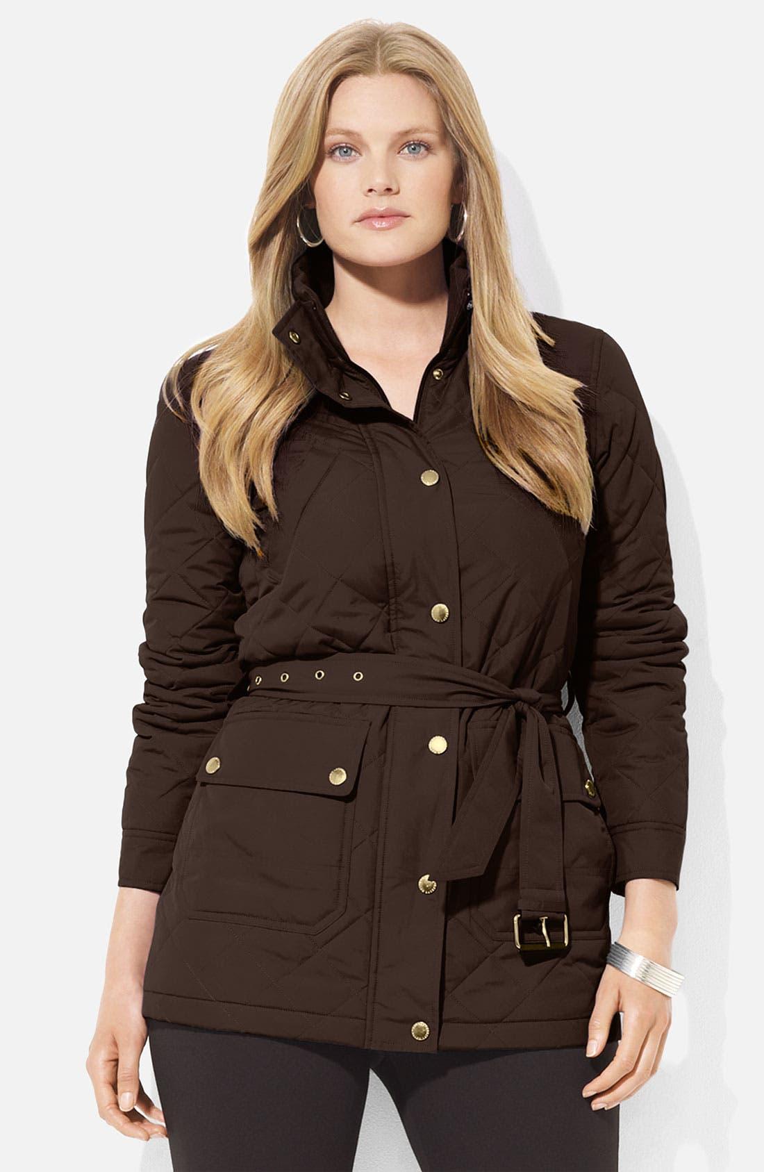Main Image - Lauren Ralph Lauren Belted Snap Front Jacket (Plus)