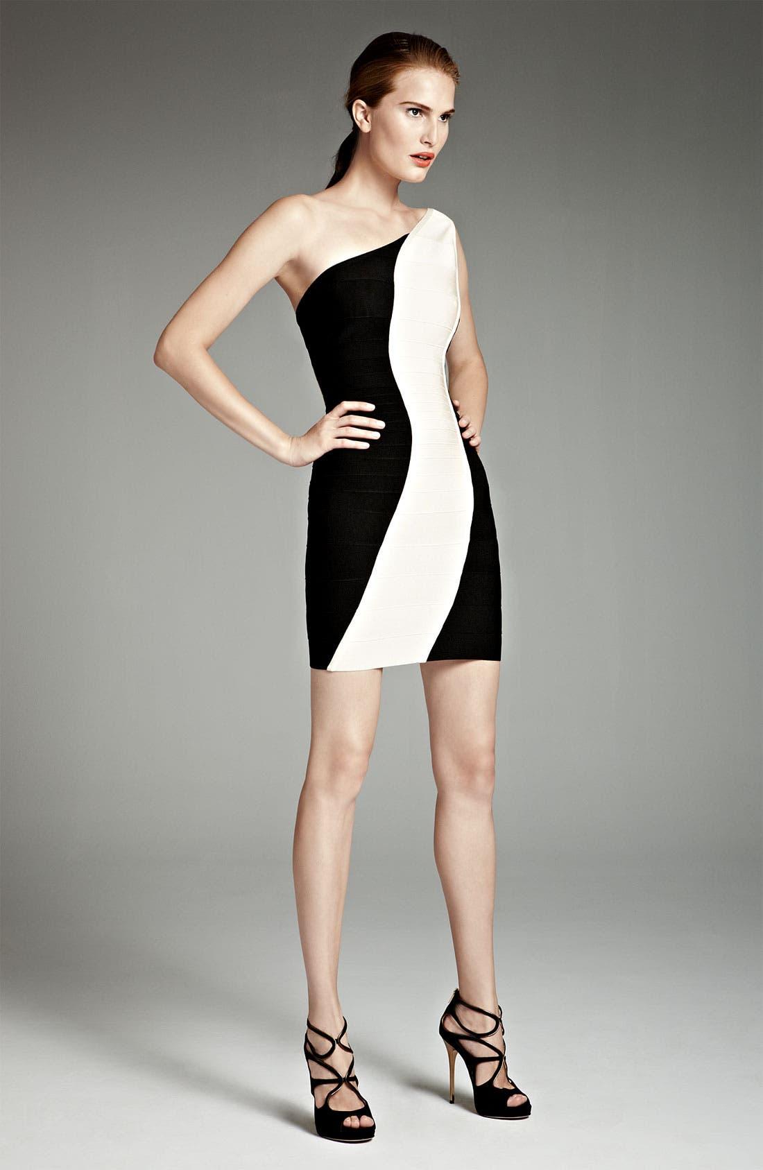 Alternate Image 3  - Herve Leger Colorblock One Shoulder Dress