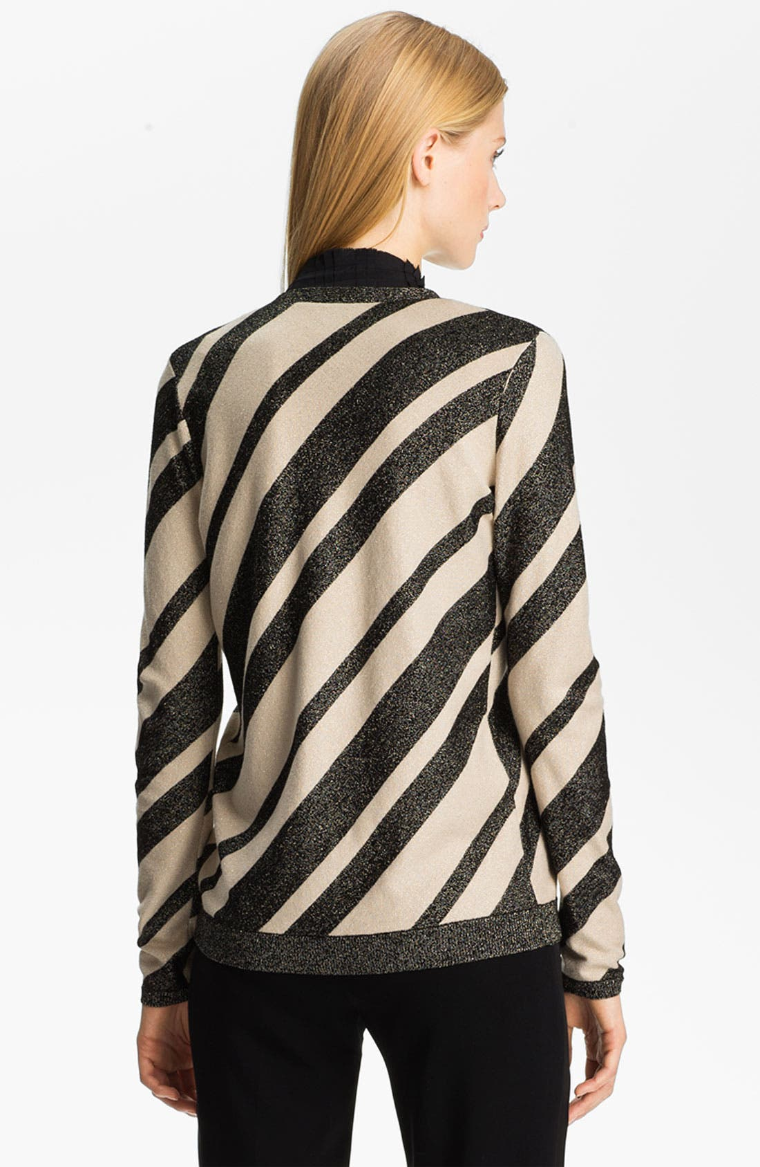Alternate Image 2  - Anne Klein Stripe V-Neck Cardigan (Petite)
