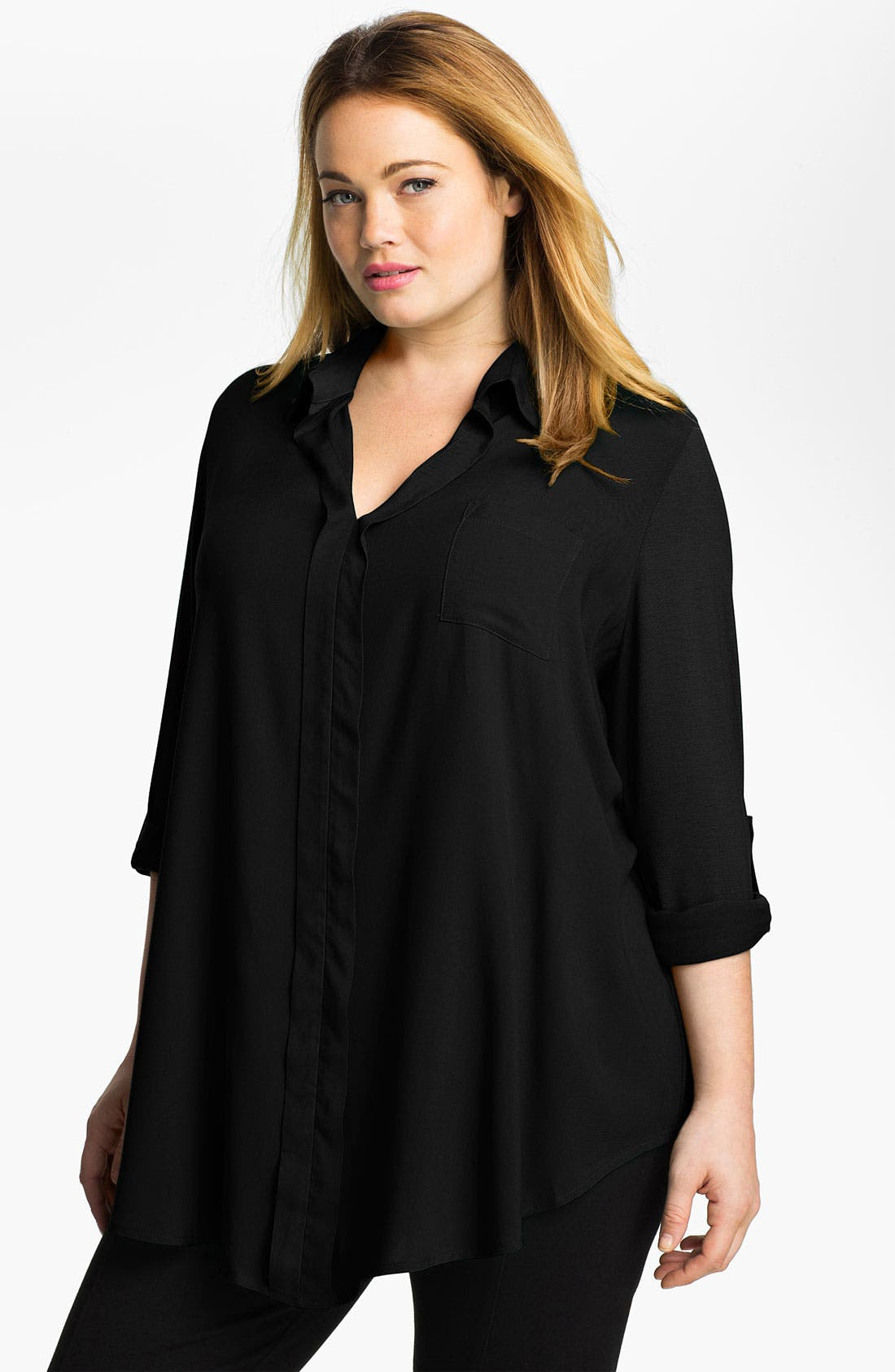 Alternate Image 1 Selected - Pleione Roll Sleeve Mixed Media Shirt (Plus Size)