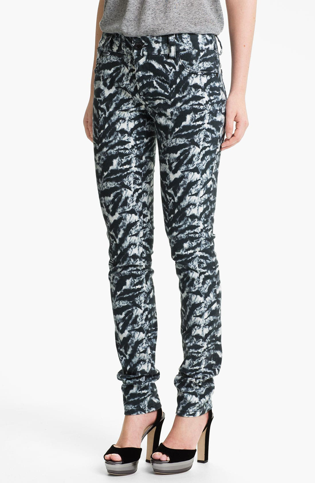 Main Image - Alice + Olivia Tiger Print Skinny Stretch Jeans