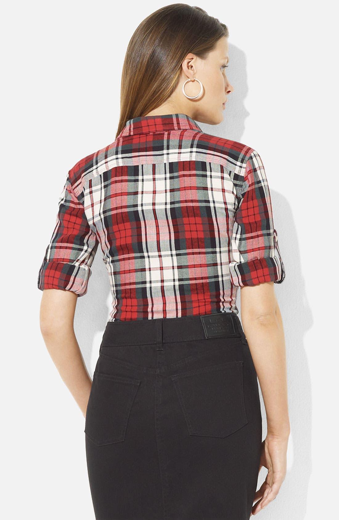 Alternate Image 2  - Lauren Ralph Lauren Roll Sleeve Plaid Shirt (Petite) (Online Exclusive)