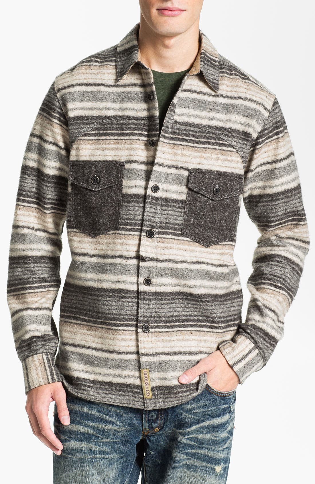 Main Image - PRPS Horizontal Stripe Flannel Shirt