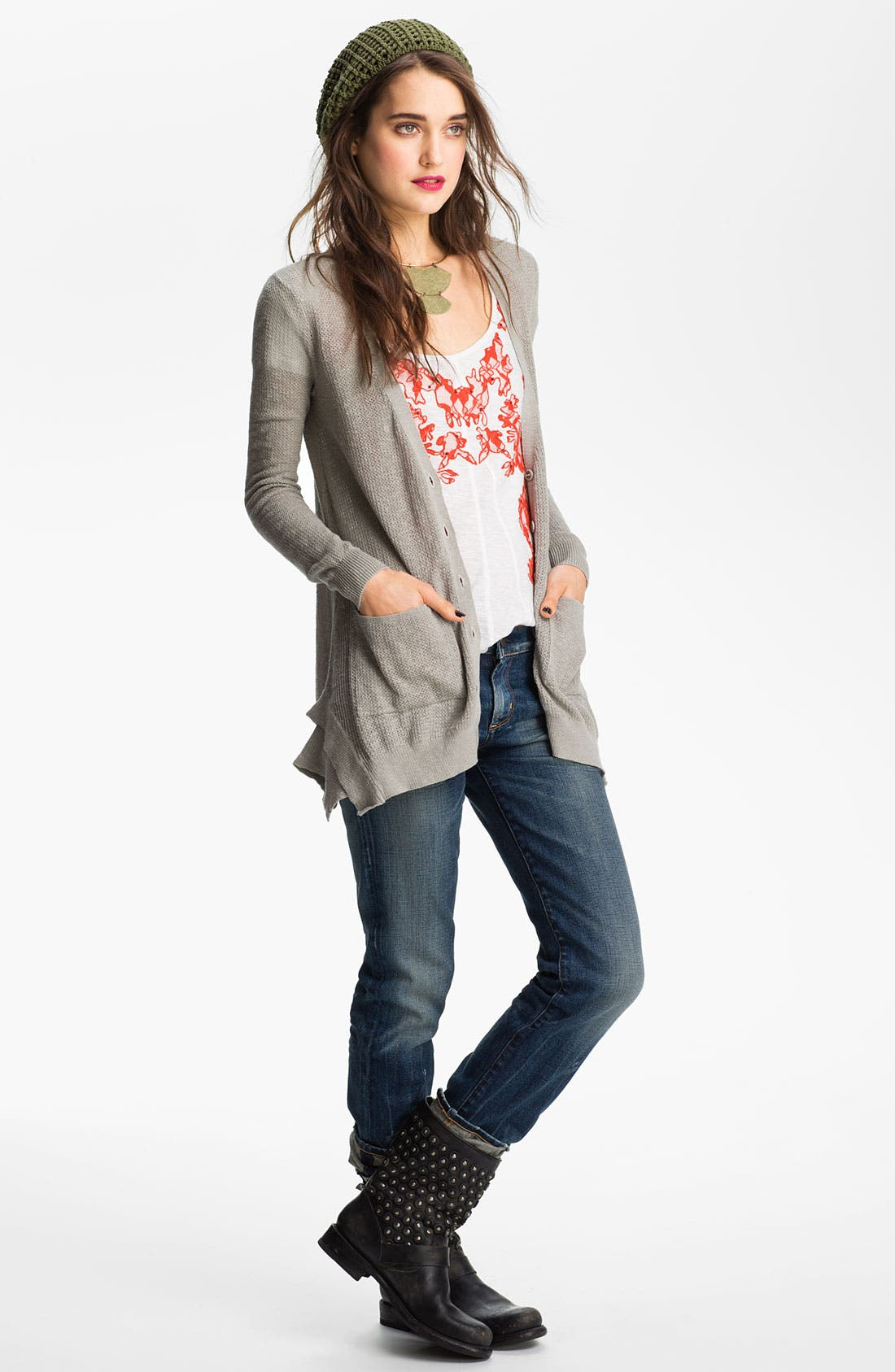 'Smarty' Thermal Cardigan,                         Main,                         color, Grey Heather